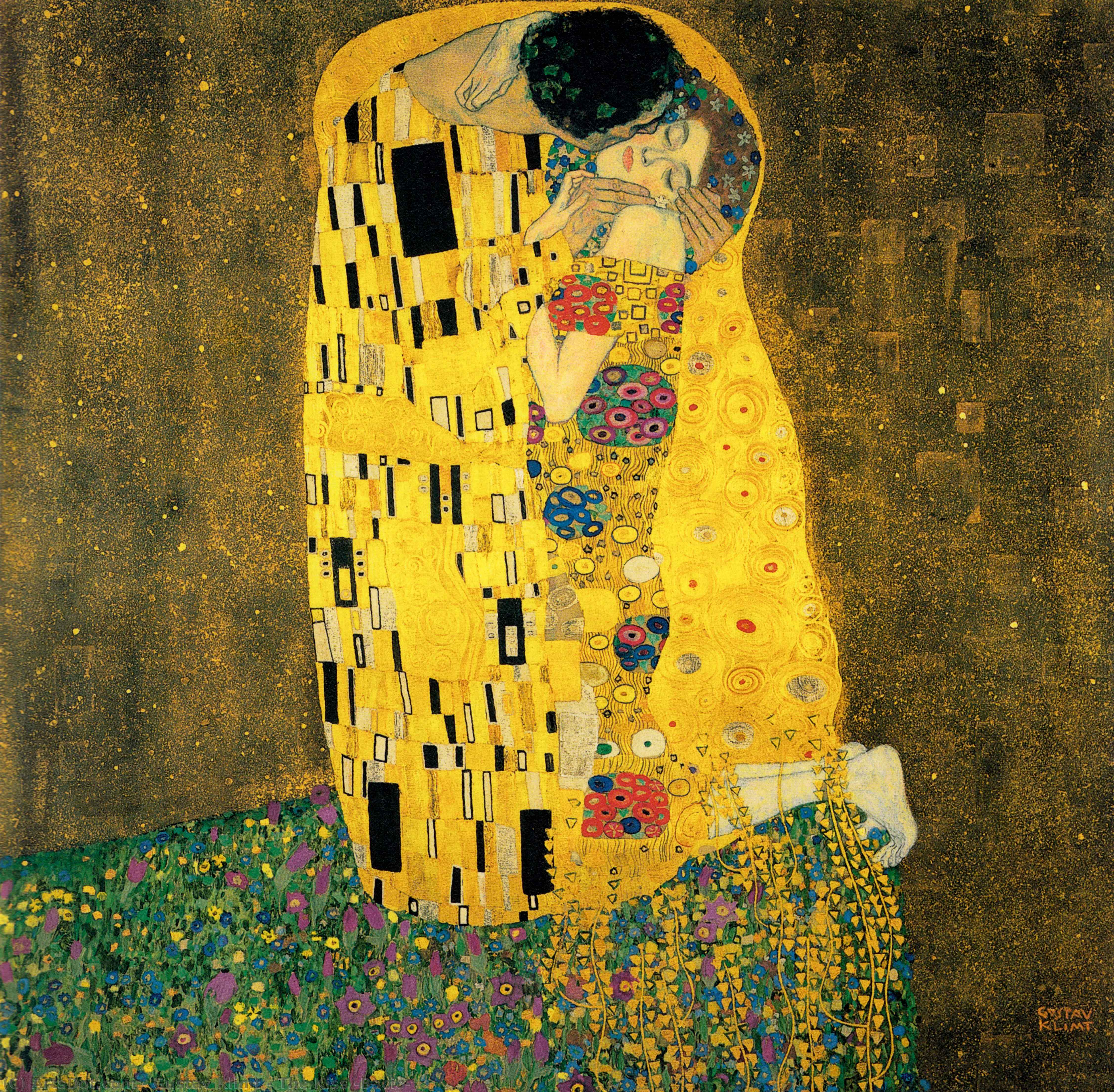 Wikioo.org - The Encyclopedia of Fine Arts - Painting, Artwork by Gustav Klimt - The Kiss (Bacio)