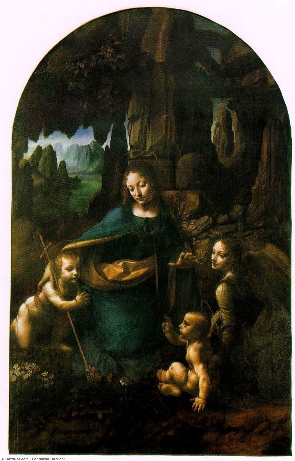 Wikioo.org - The Encyclopedia of Fine Arts - Painting, Artwork by Leonardo Da Vinci - Virgin of the Rocks - London