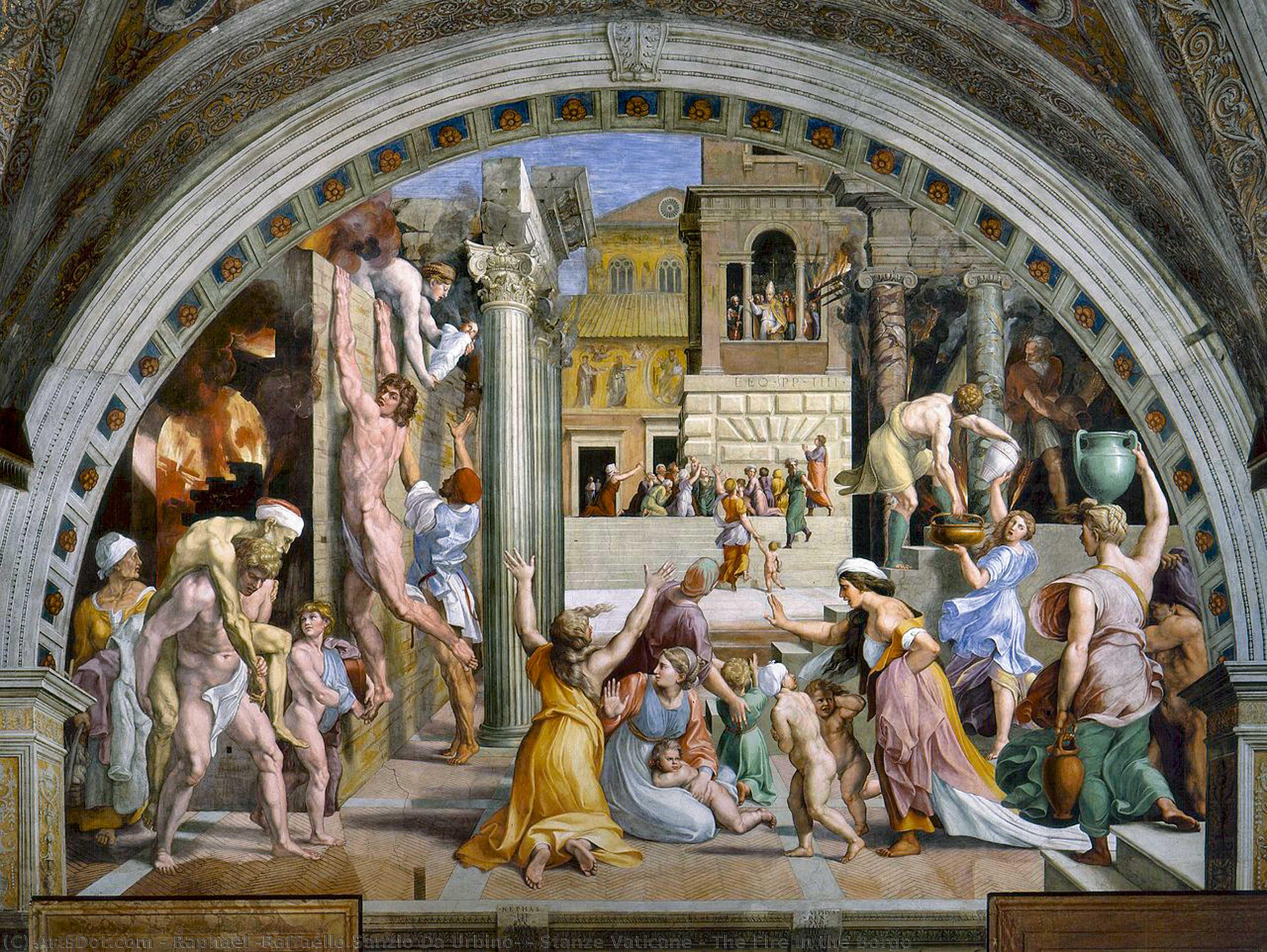 Wikioo.org - The Encyclopedia of Fine Arts - Painting, Artwork by Raphael (Raffaello Sanzio Da Urbino) - Stanze Vaticane - The Fire in the Borgo