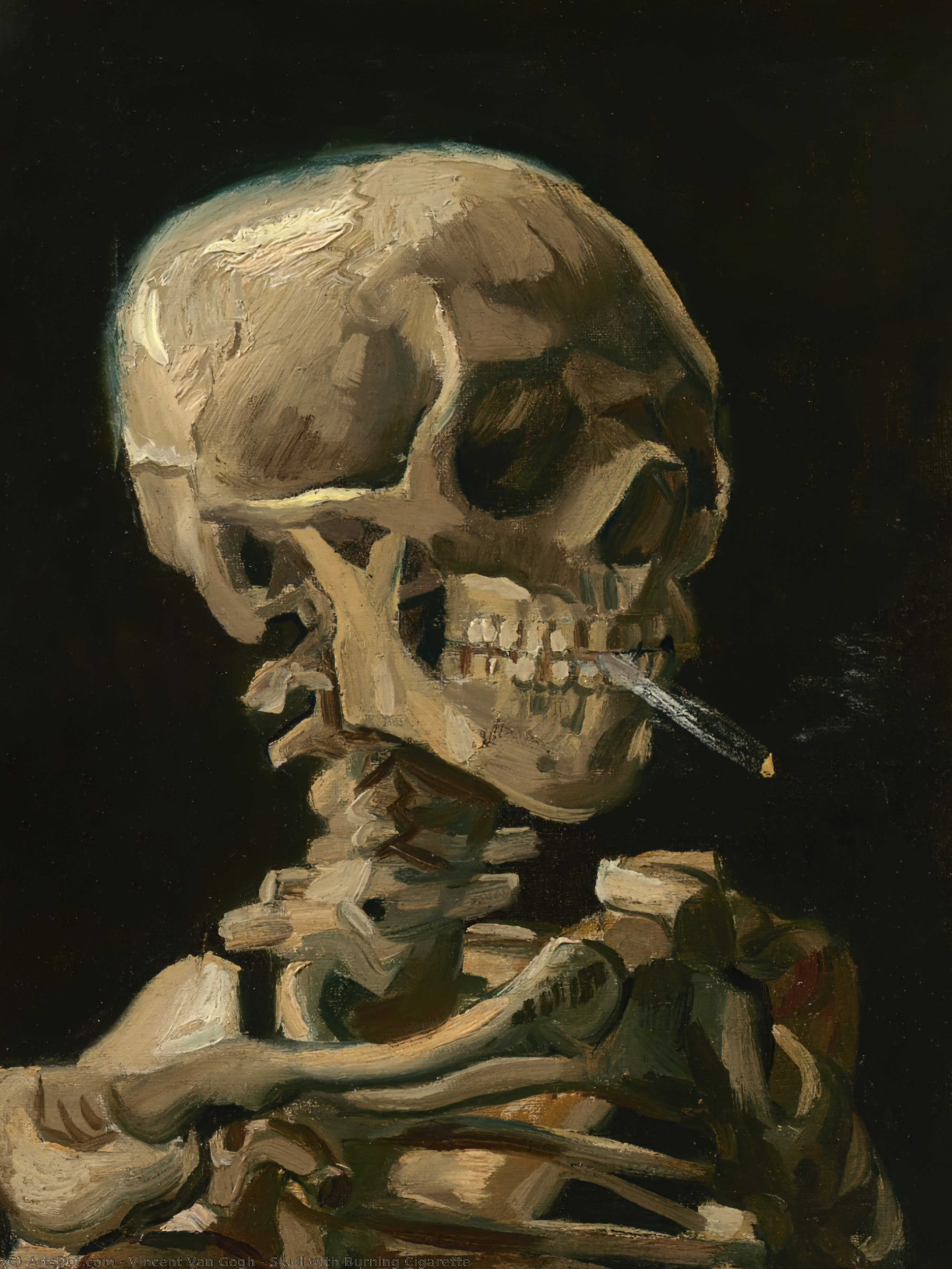 WikiOO.org - Güzel Sanatlar Ansiklopedisi - Resim, Resimler Vincent Van Gogh - Skull with Burning Cigarette