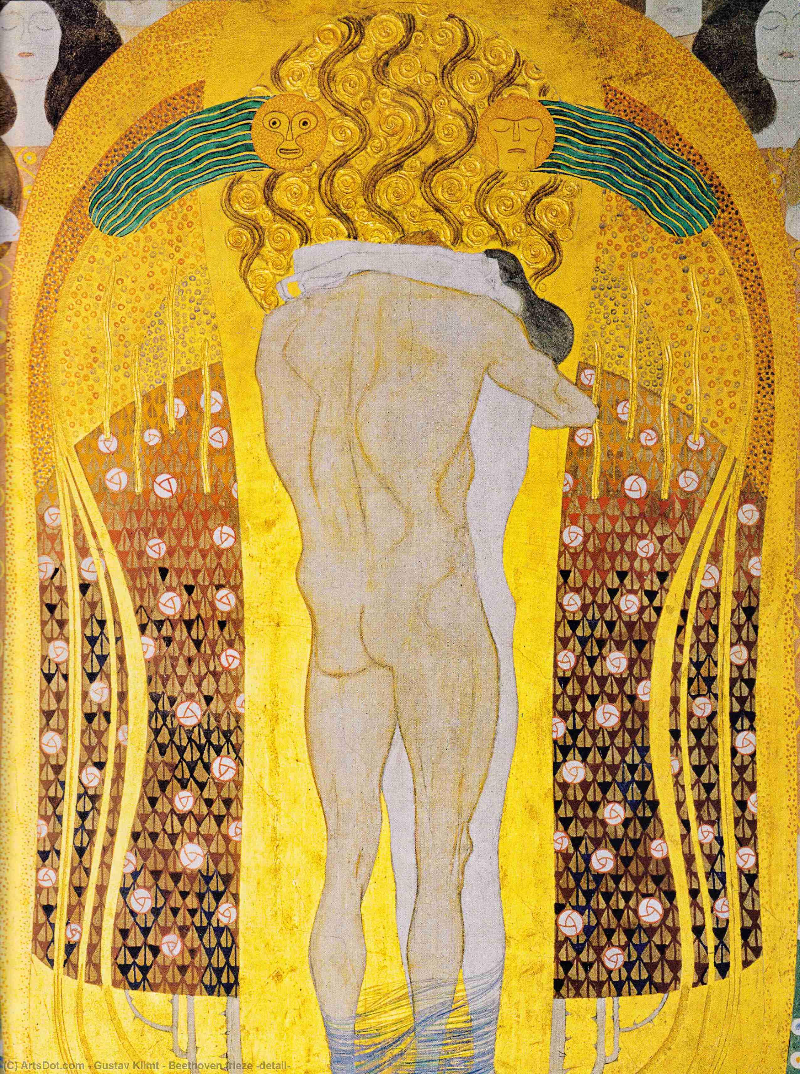 Wikoo.org - موسوعة الفنون الجميلة - اللوحة، العمل الفني Gustav Klimt - Beethoven frieze (detail)