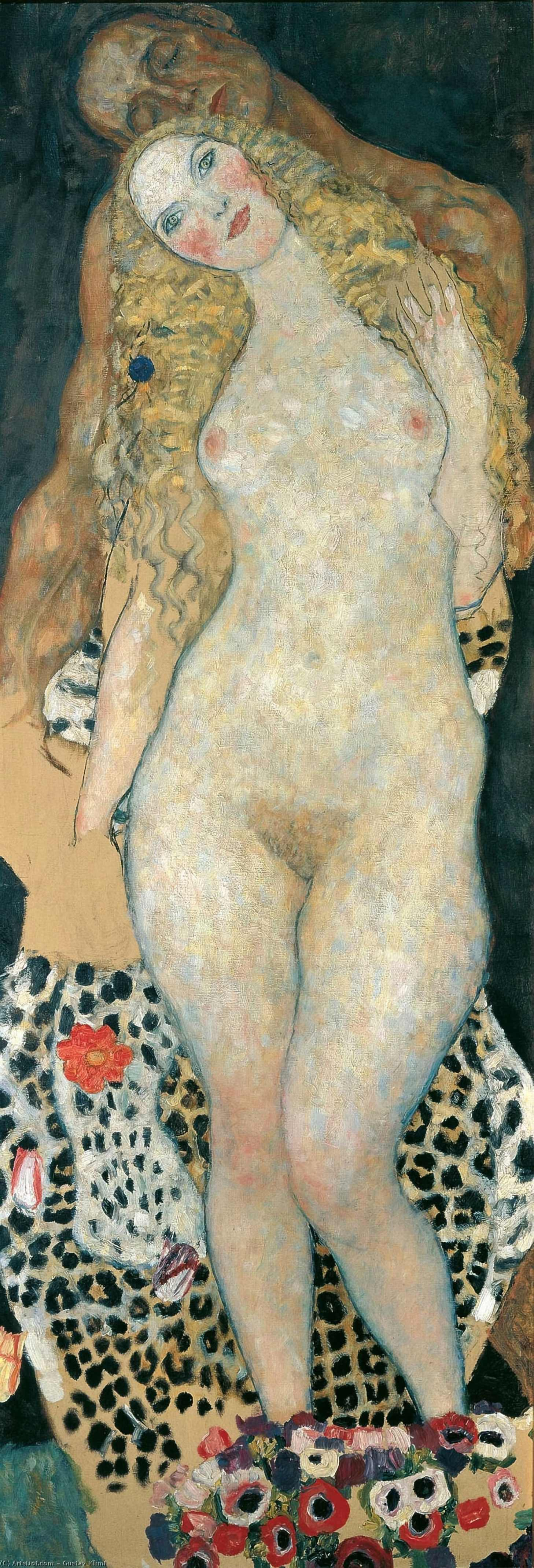 Wikioo.org - The Encyclopedia of Fine Arts - Painting, Artwork by Gustav Klimt - Adam and Eve(unfinished)