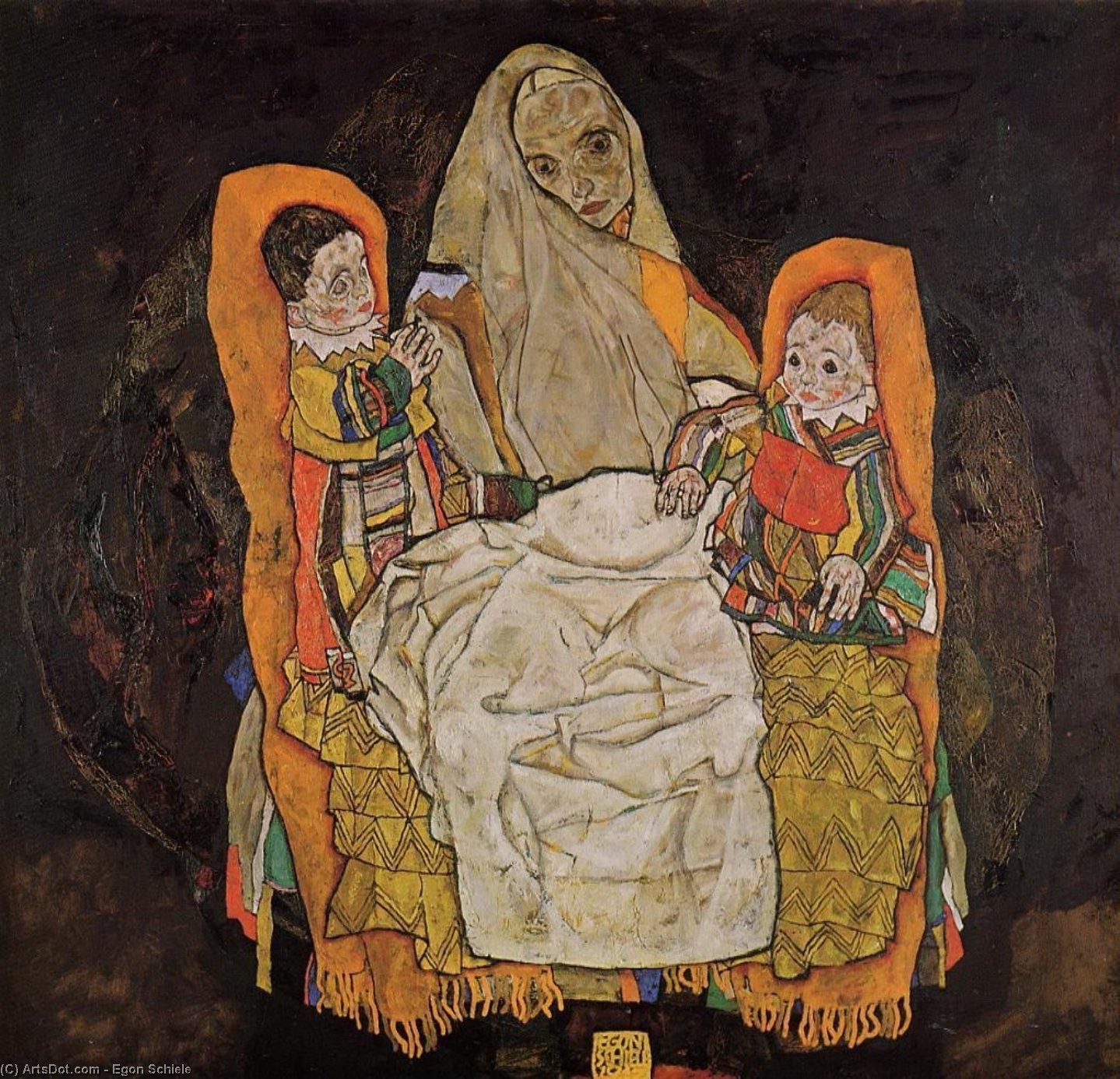 Wikoo.org - موسوعة الفنون الجميلة - اللوحة، العمل الفني Egon Schiele - Mother with Two Children