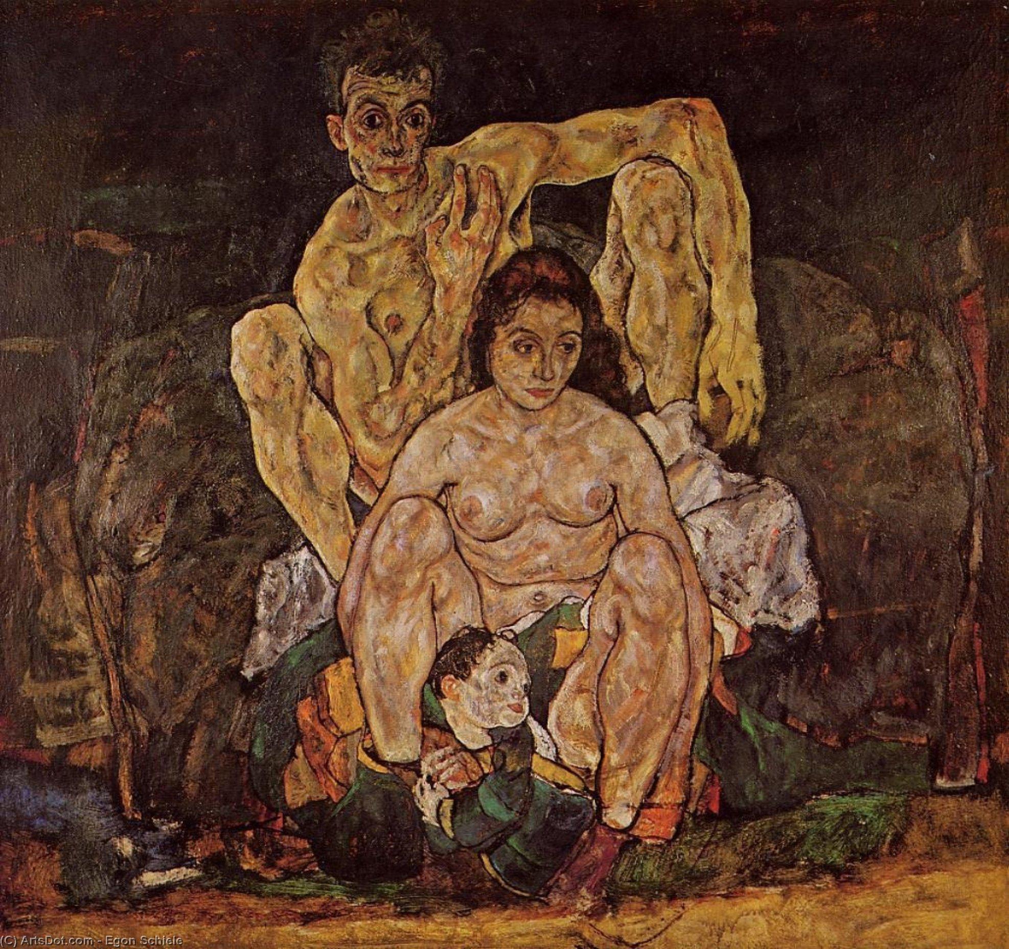 Wikoo.org - موسوعة الفنون الجميلة - اللوحة، العمل الفني Egon Schiele - The Family