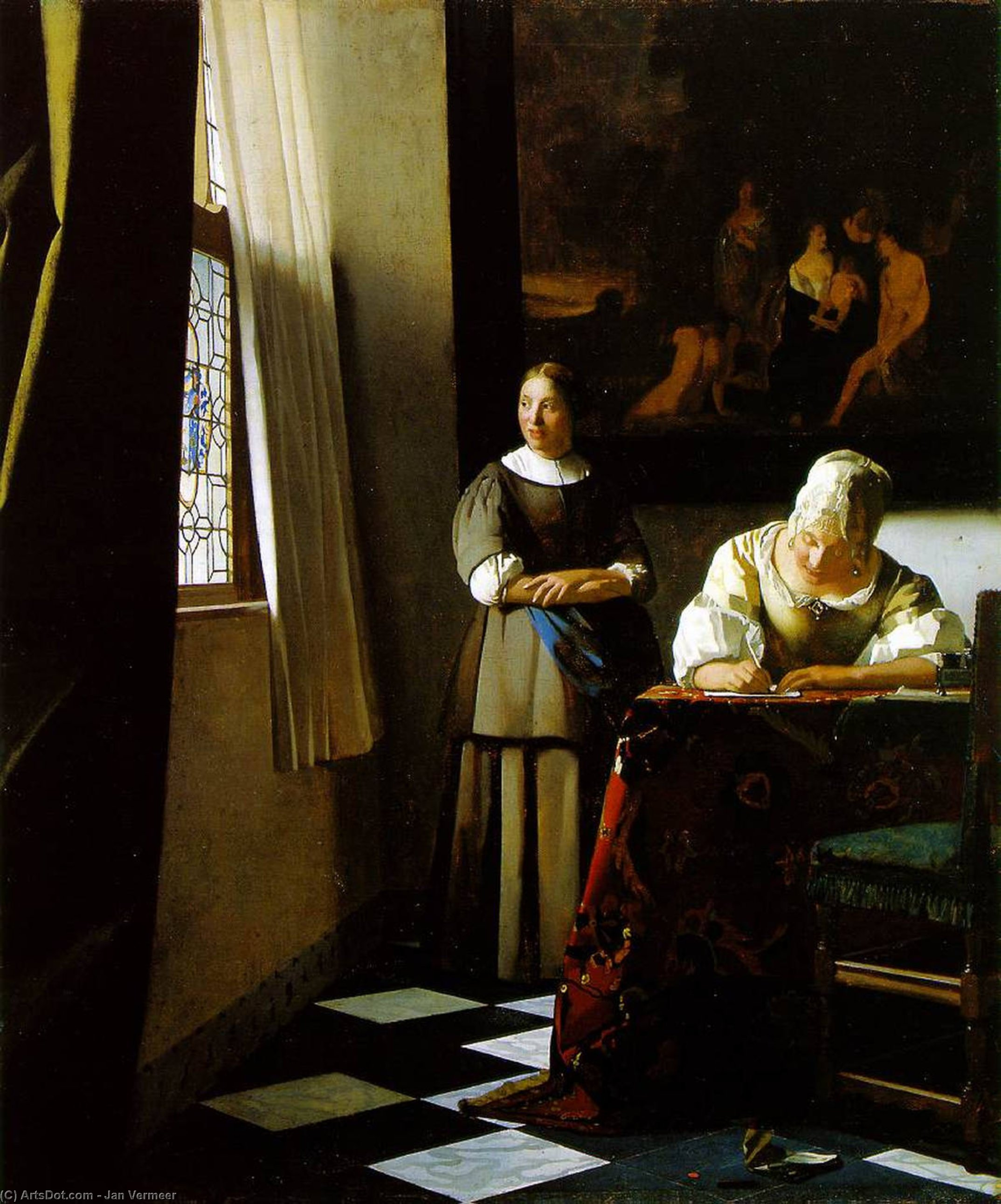 Wikioo.org - The Encyclopedia of Fine Arts - Painting, Artwork by Jan Vermeer - Lady Writing a Letter with Her Maid [c. 1670]