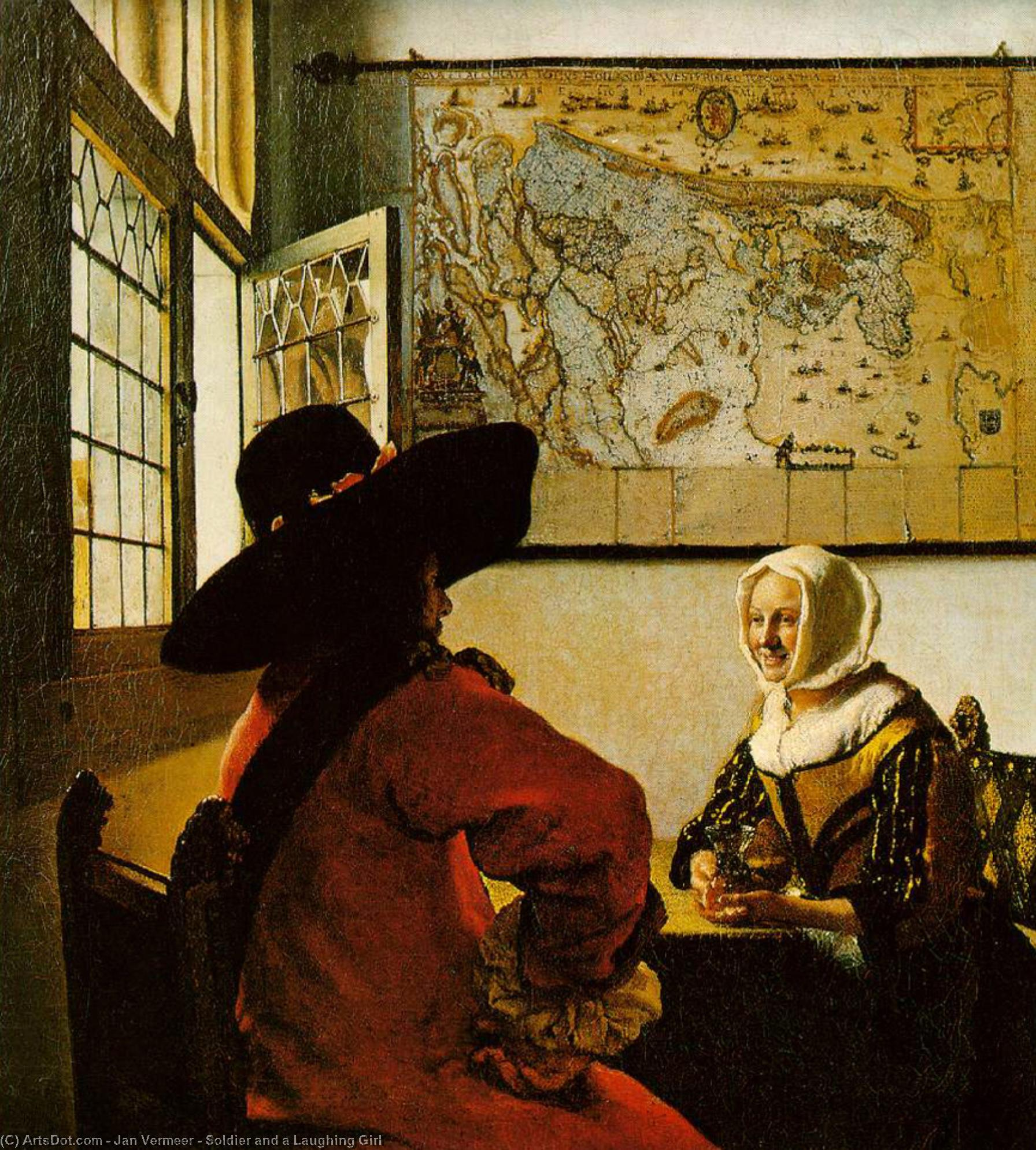 Wikioo.org - The Encyclopedia of Fine Arts - Painting, Artwork by Jan Vermeer - Soldier and a Laughing Girl