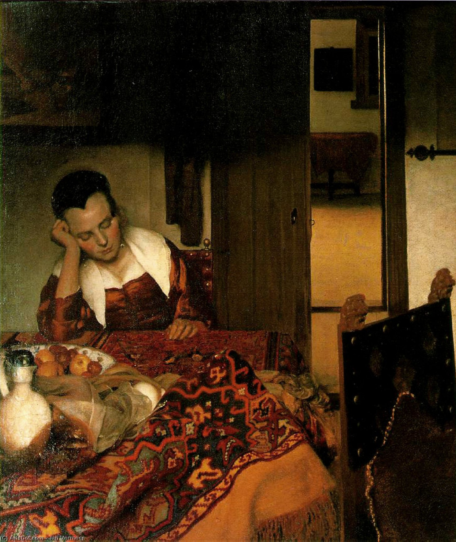 Wikioo.org - The Encyclopedia of Fine Arts - Painting, Artwork by Jan Vermeer - Girl asleep at a table