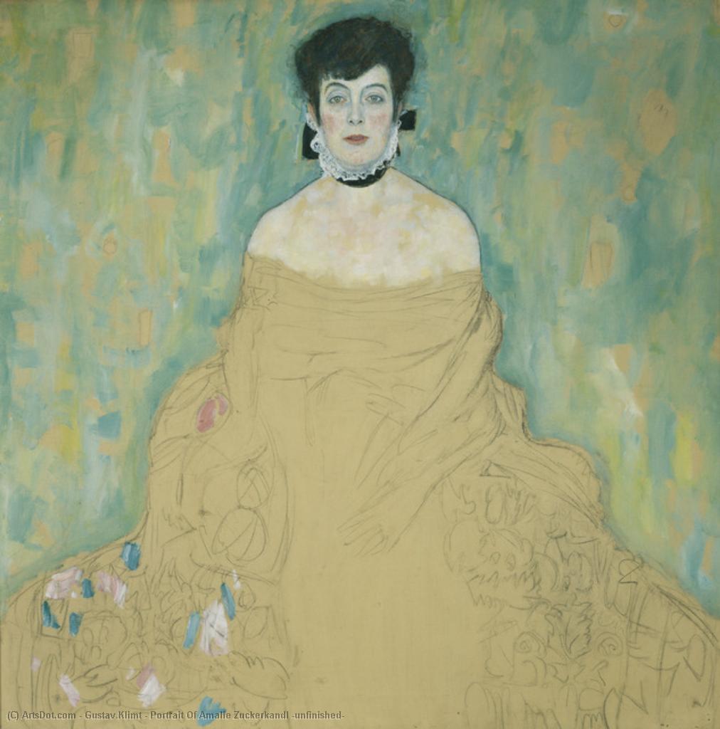 WikiOO.org - Enciclopédia das Belas Artes - Pintura, Arte por Gustav Klimt - Portrait Of Amalie Zuckerkandl (unfinished)
