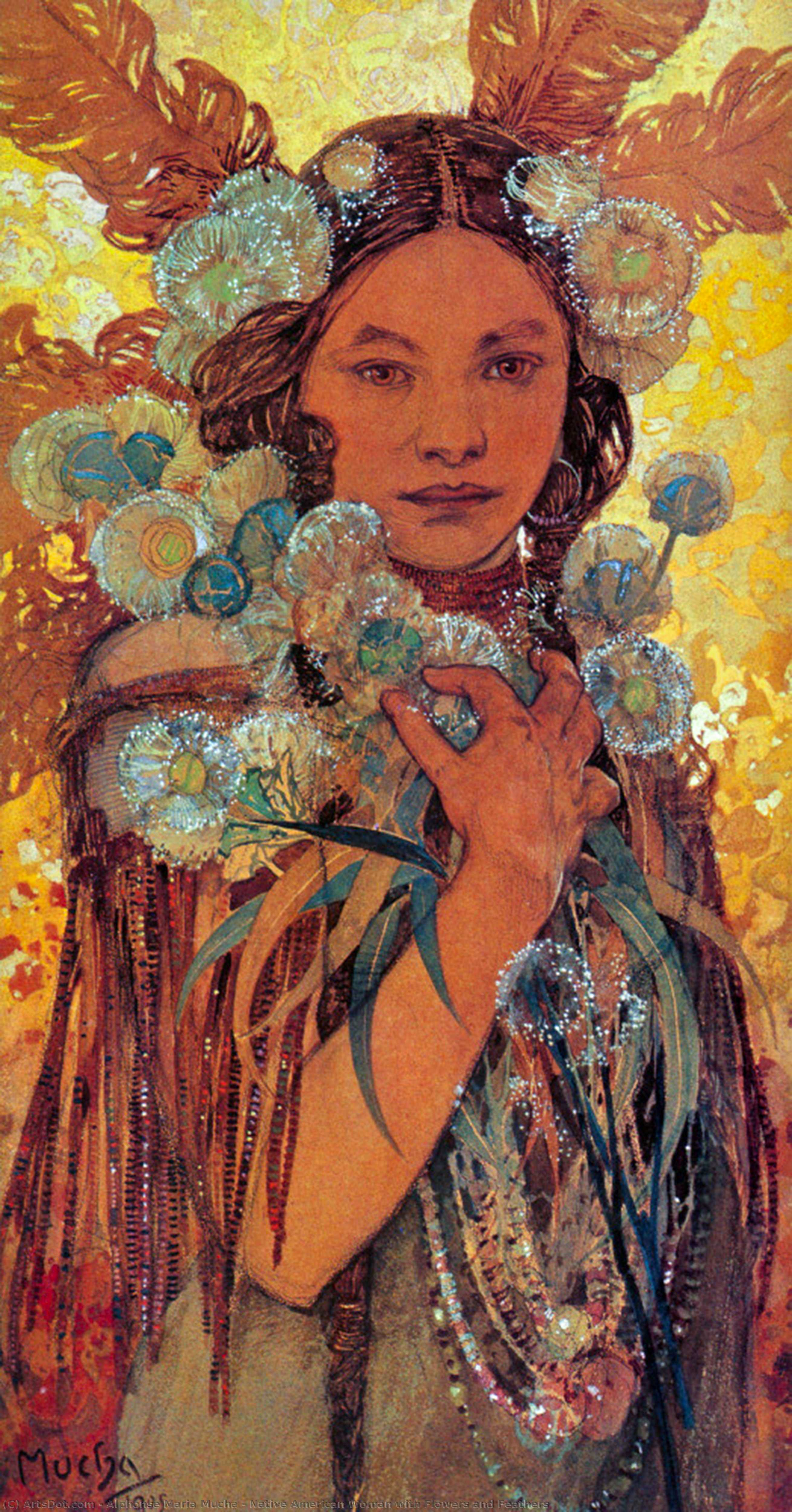 Wikioo.org - The Encyclopedia of Fine Arts - Painting, Artwork by Alphonse Maria Mucha - Native American Woman with Flowers and Feathers