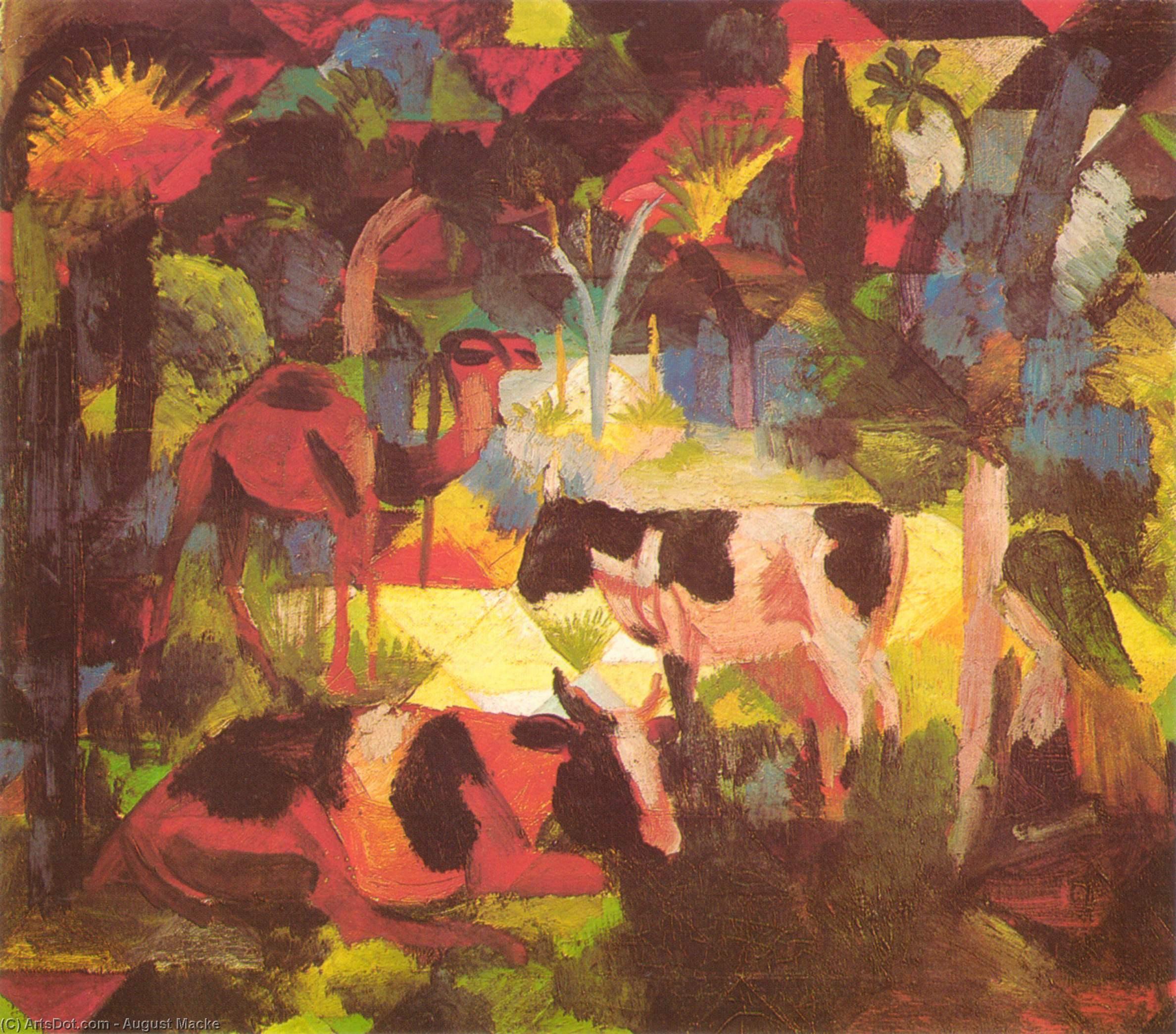 WikiOO.org - Enciclopédia das Belas Artes - Pintura, Arte por August Macke - Landscape with Cows and Camel