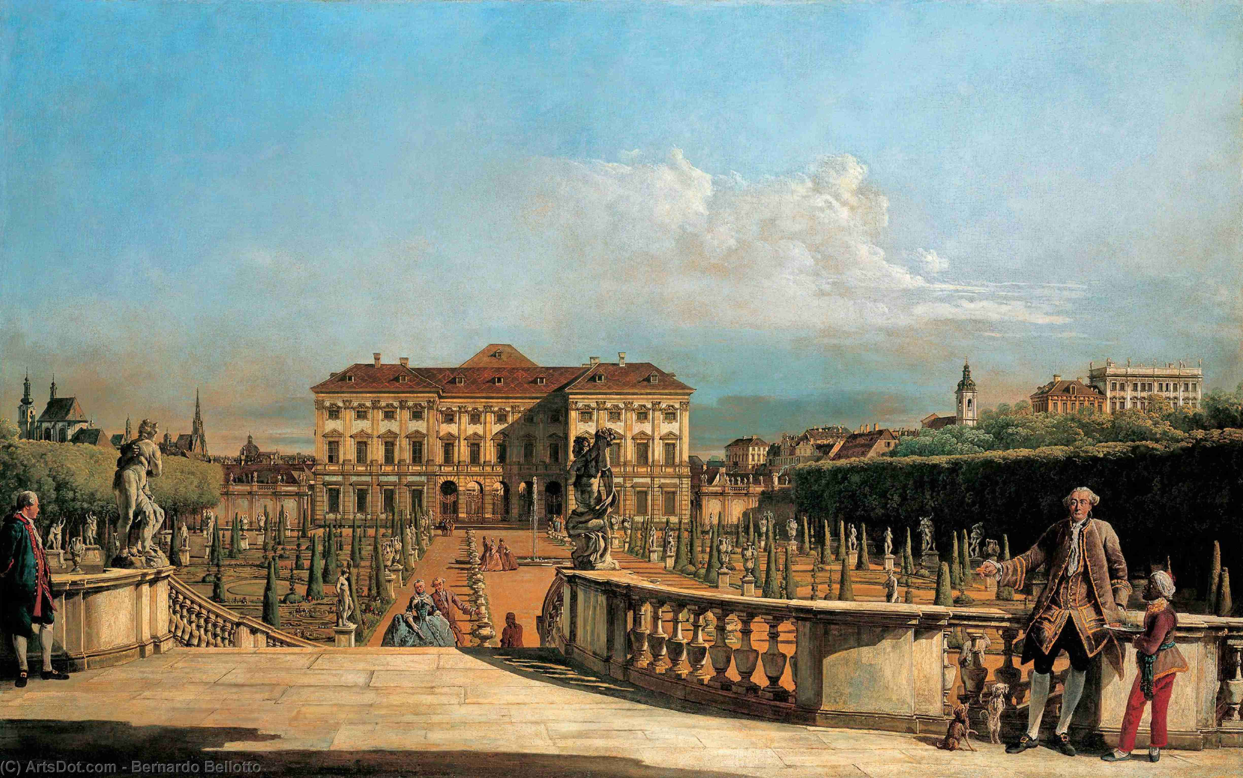 Wikioo.org - The Encyclopedia of Fine Arts - Painting, Artwork by Bernardo Bellotto - Liechtenstein Garden Palace, garden side
