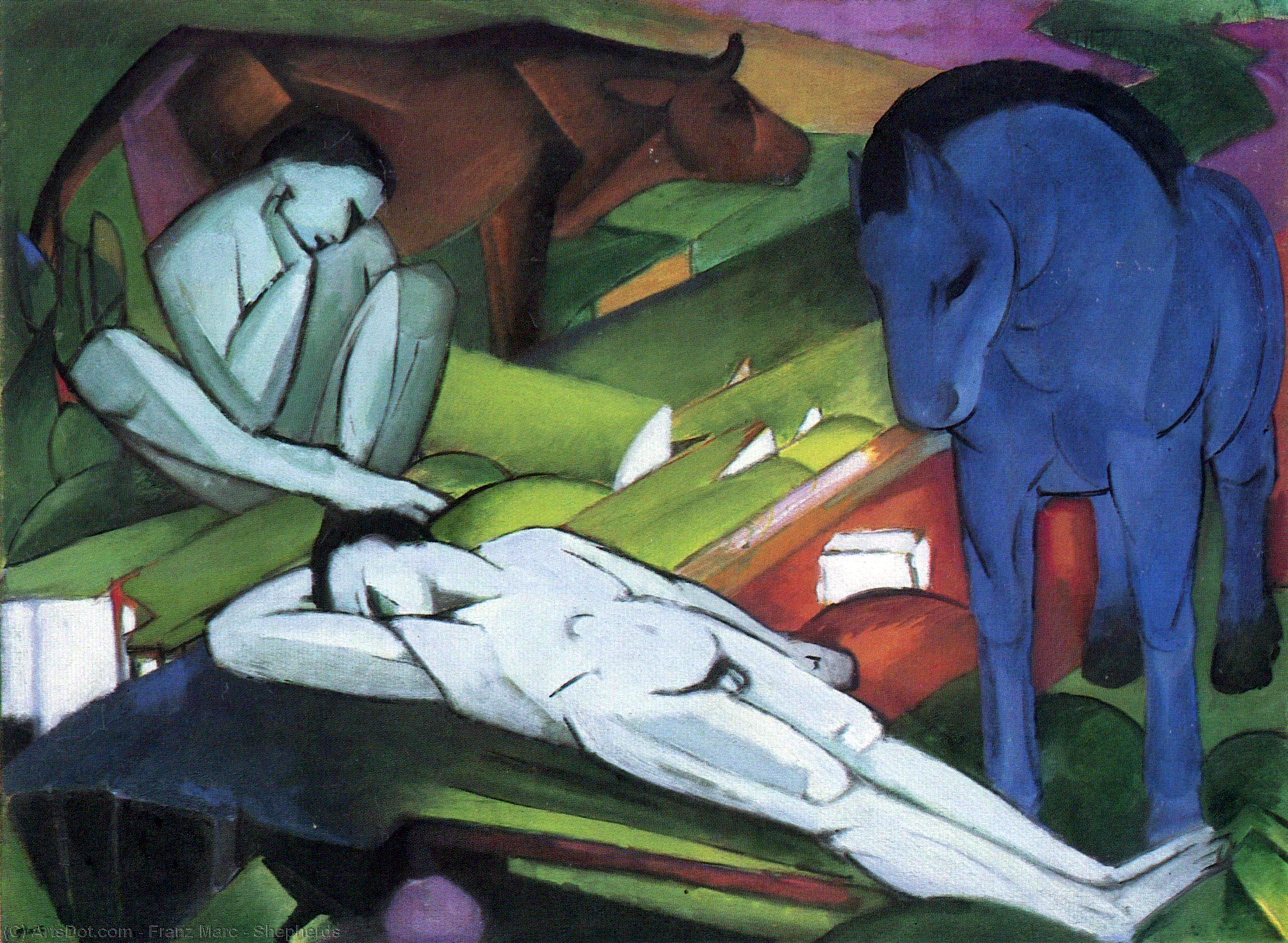 Wikioo.org - The Encyclopedia of Fine Arts - Painting, Artwork by Franz Marc - Shepherds