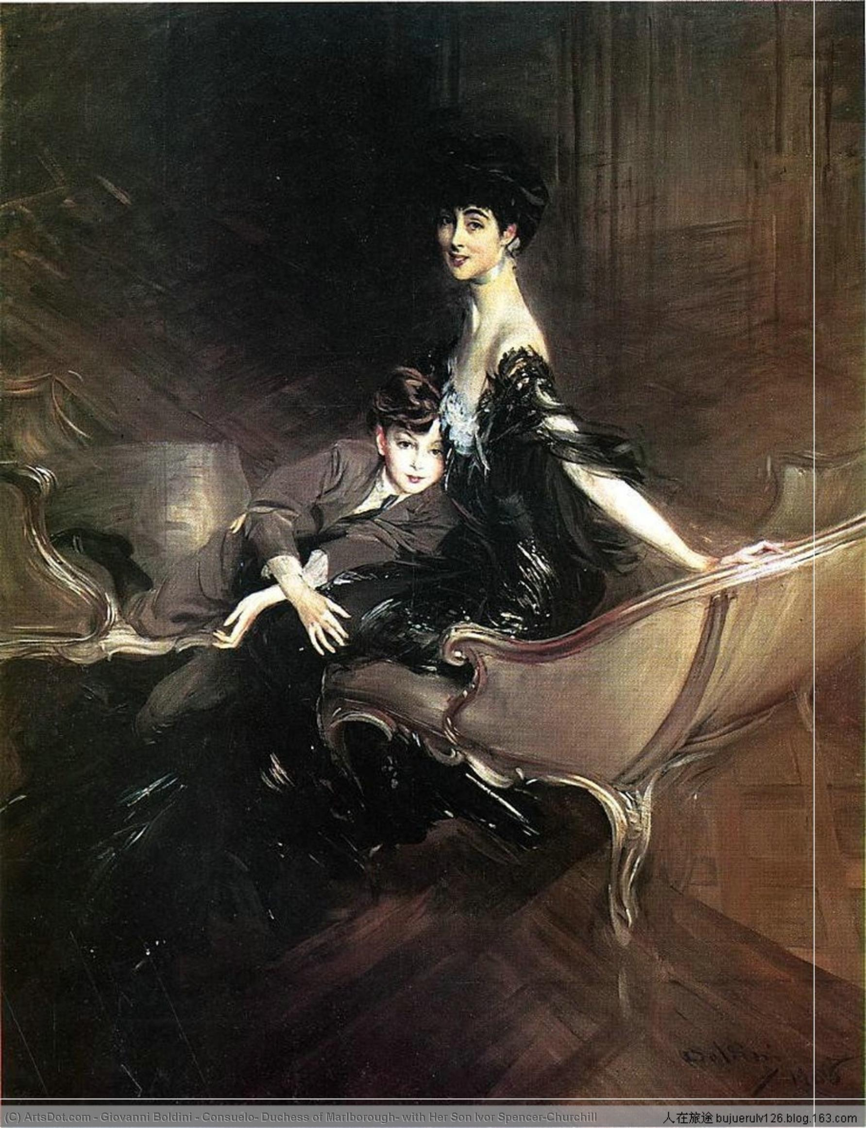 Wikioo.org - The Encyclopedia of Fine Arts - Painting, Artwork by Giovanni Boldini - Consuelo, Duchess of Marlborough, with Her Son Ivor Spencer-Churchill