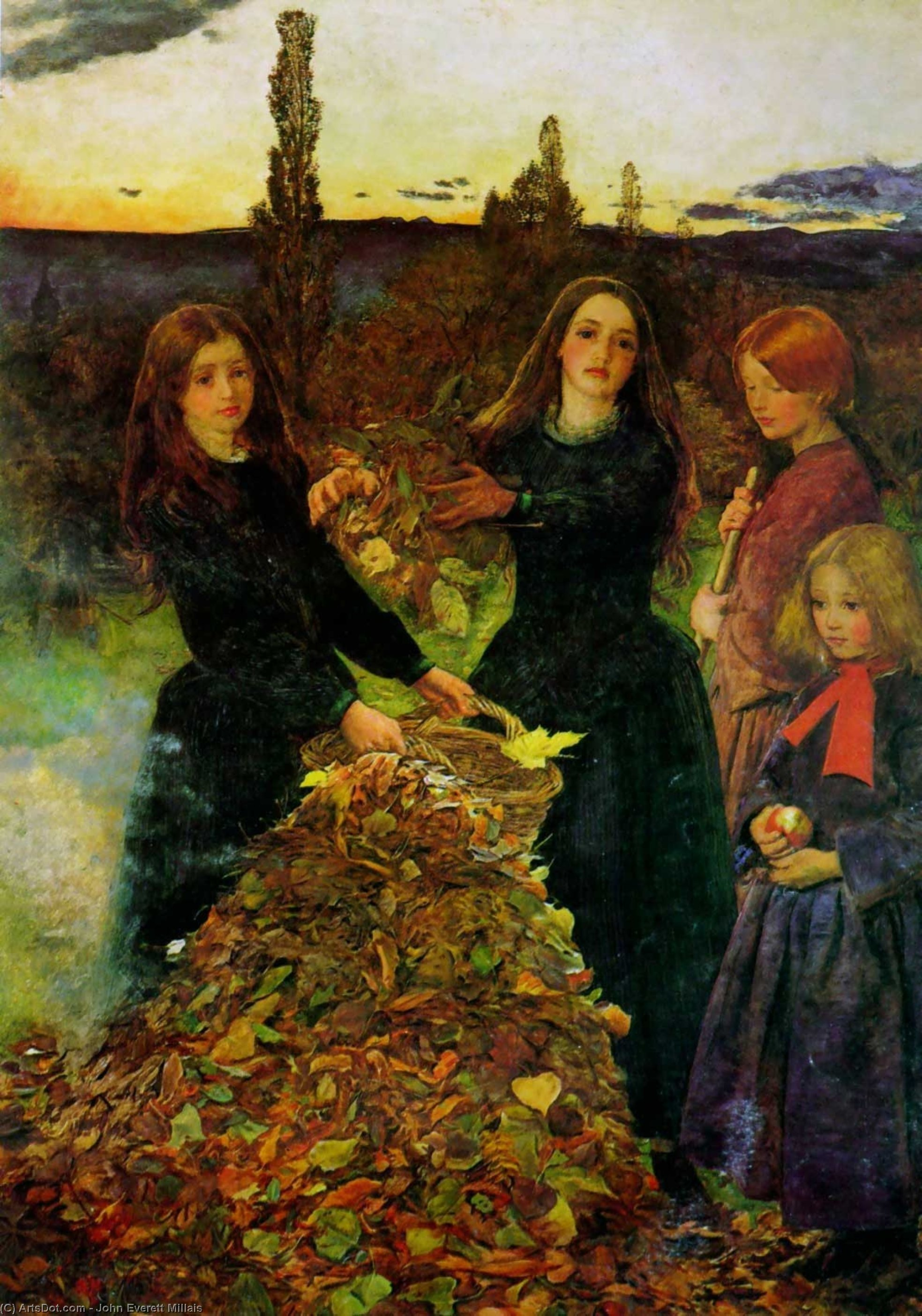 Wikioo.org - The Encyclopedia of Fine Arts - Painting, Artwork by John Everett Millais - Autumn Leaves
