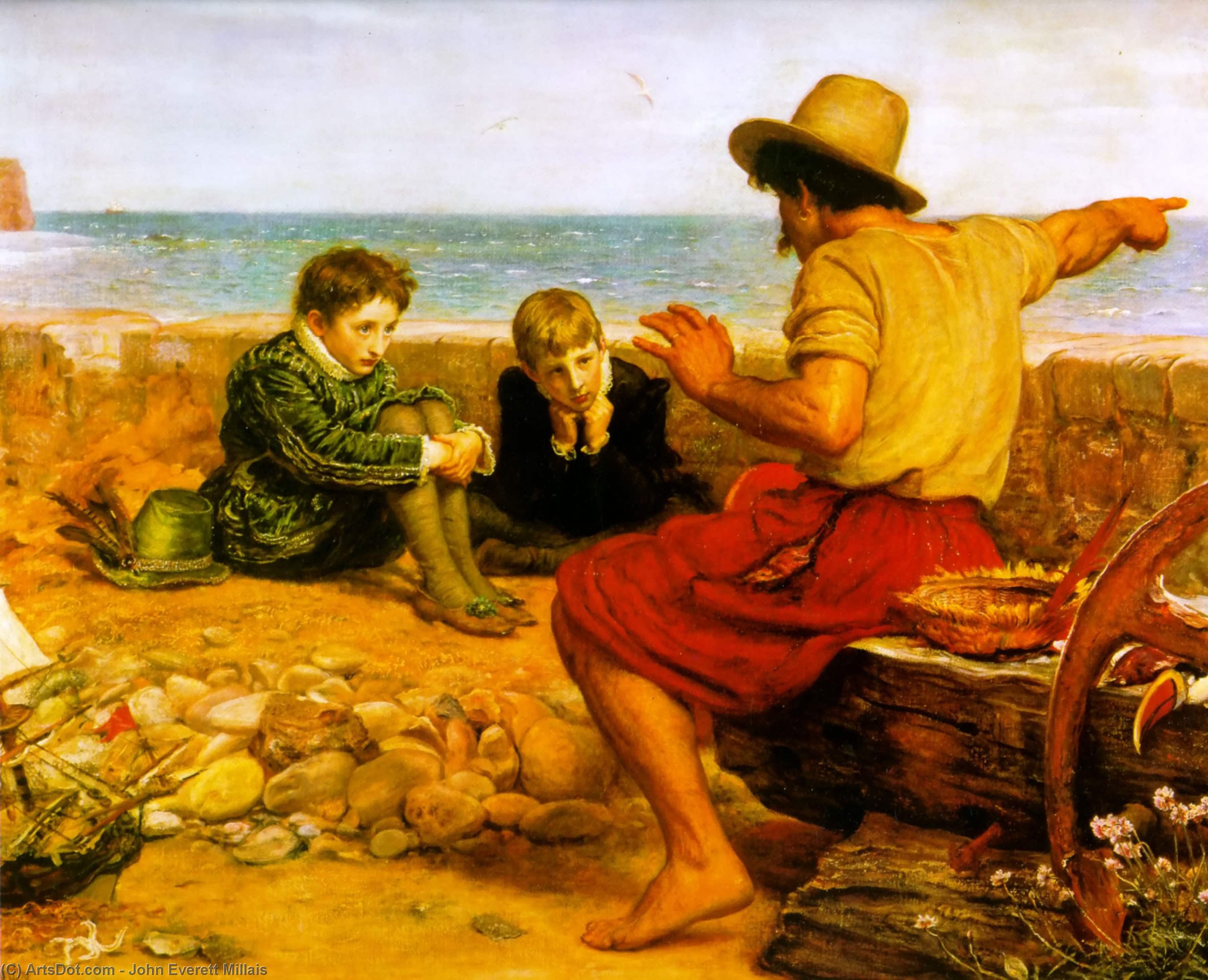 Wikioo.org - The Encyclopedia of Fine Arts - Painting, Artwork by John Everett Millais - The Boyhood of Raleigh