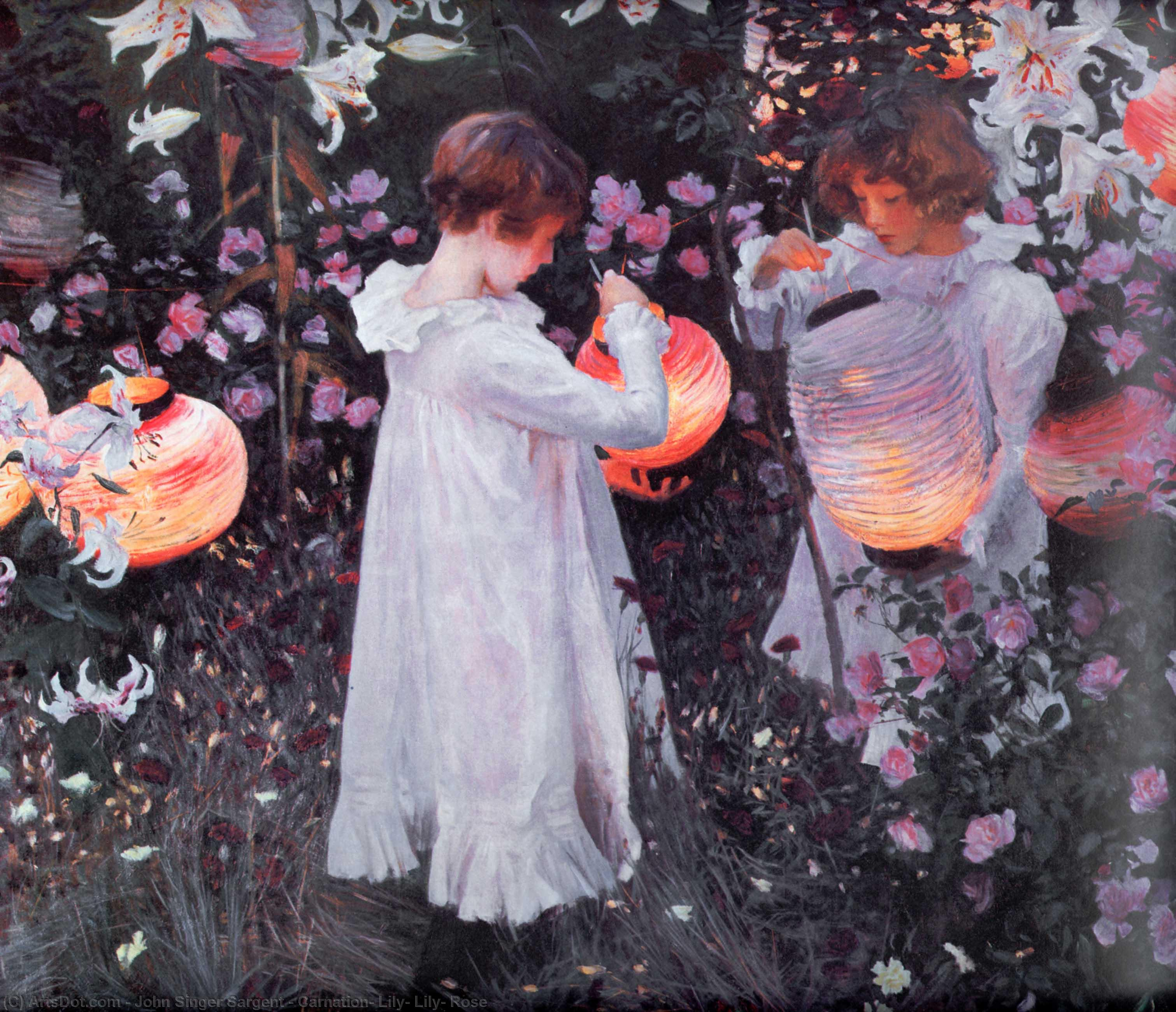 Wikioo.org - The Encyclopedia of Fine Arts - Painting, Artwork by John Singer Sargent - Carnation, Lily, Lily, Rose
