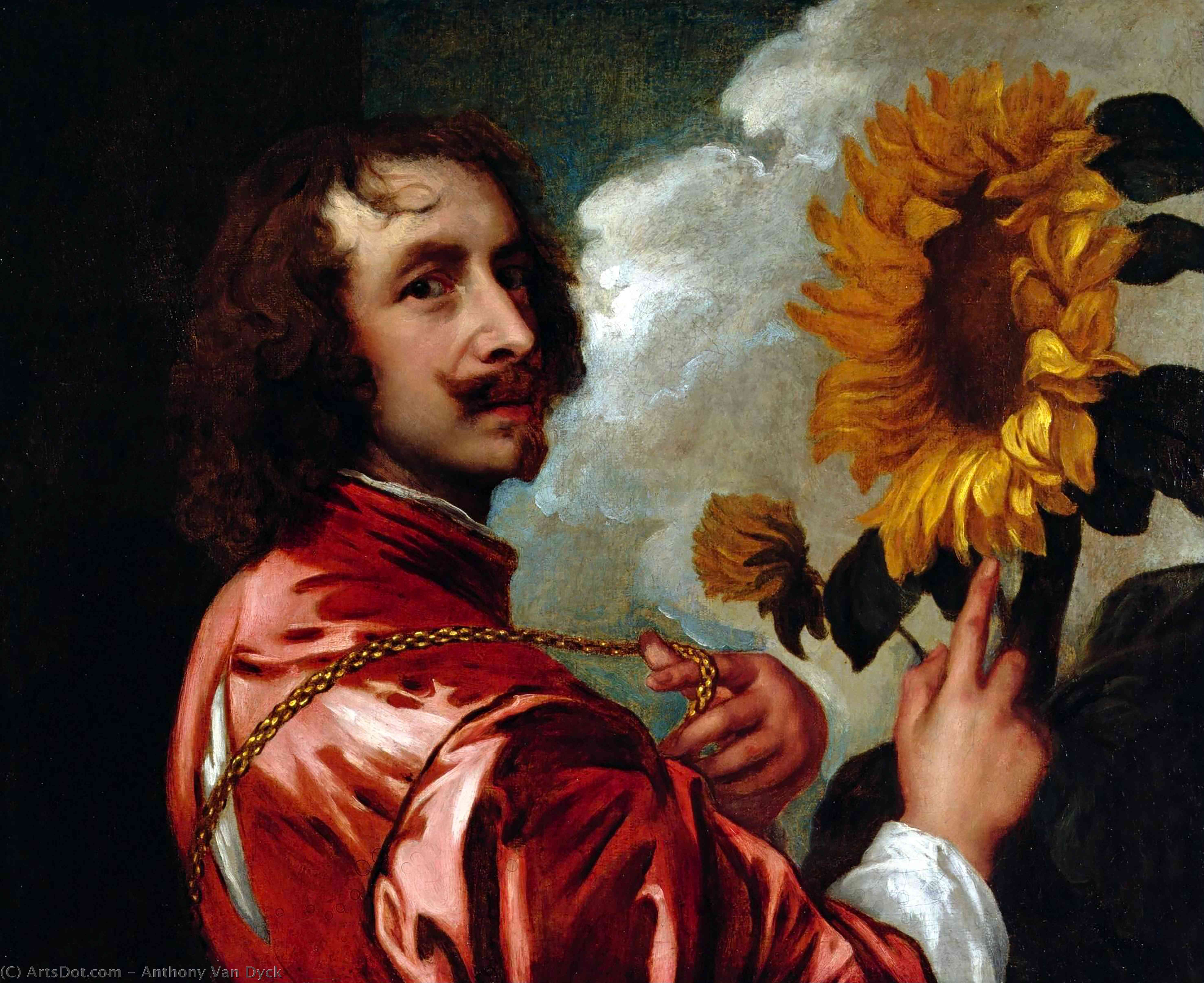 Wikioo.org - The Encyclopedia of Fine Arts - Painting, Artwork by Anthony Van Dyck - Self-portrait with a Sunflower