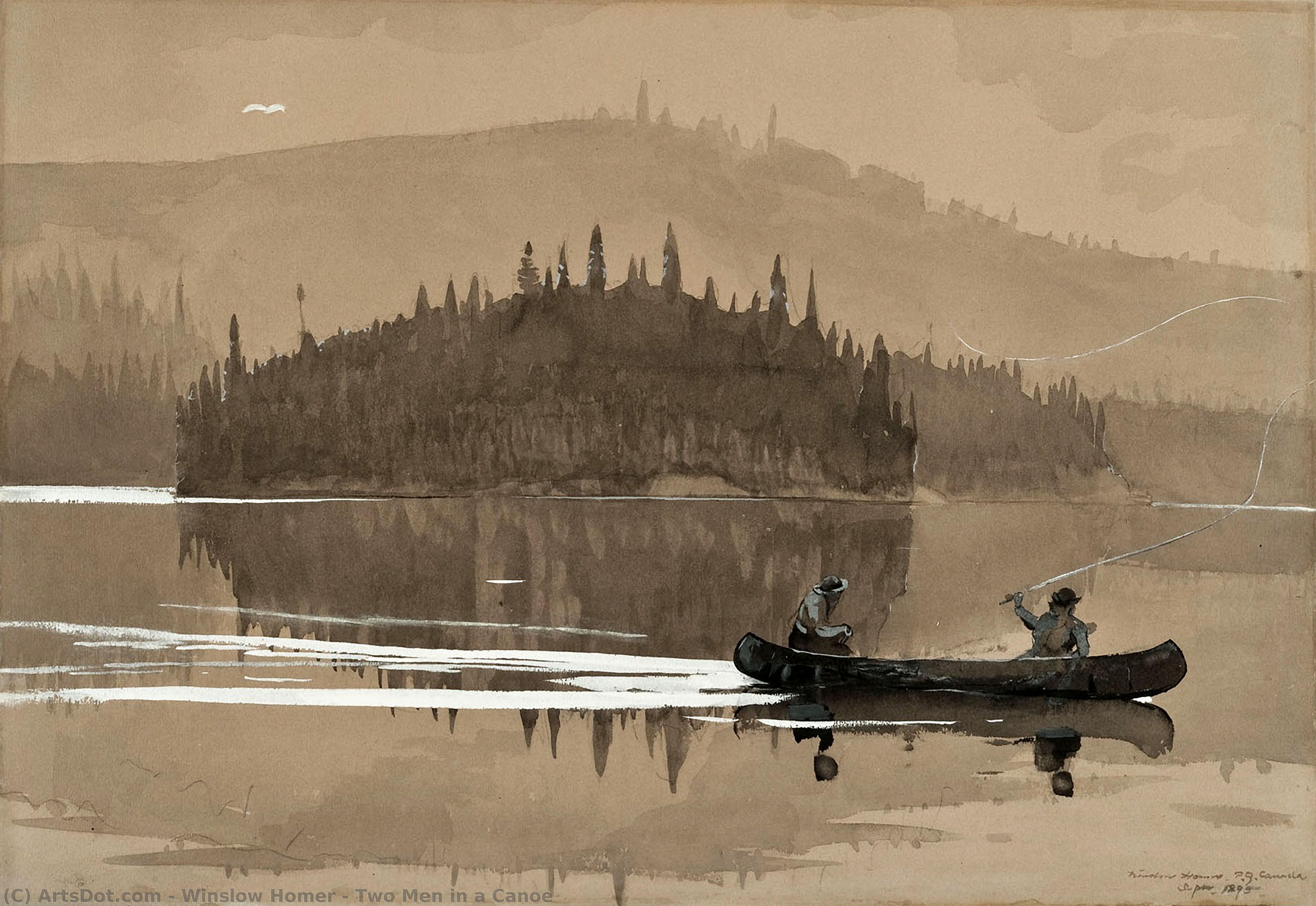 Wikioo.org – La Enciclopedia de las Bellas Artes - Pintura, Obras de arte de Winslow Homer - dos hombres para  Un  Canoa