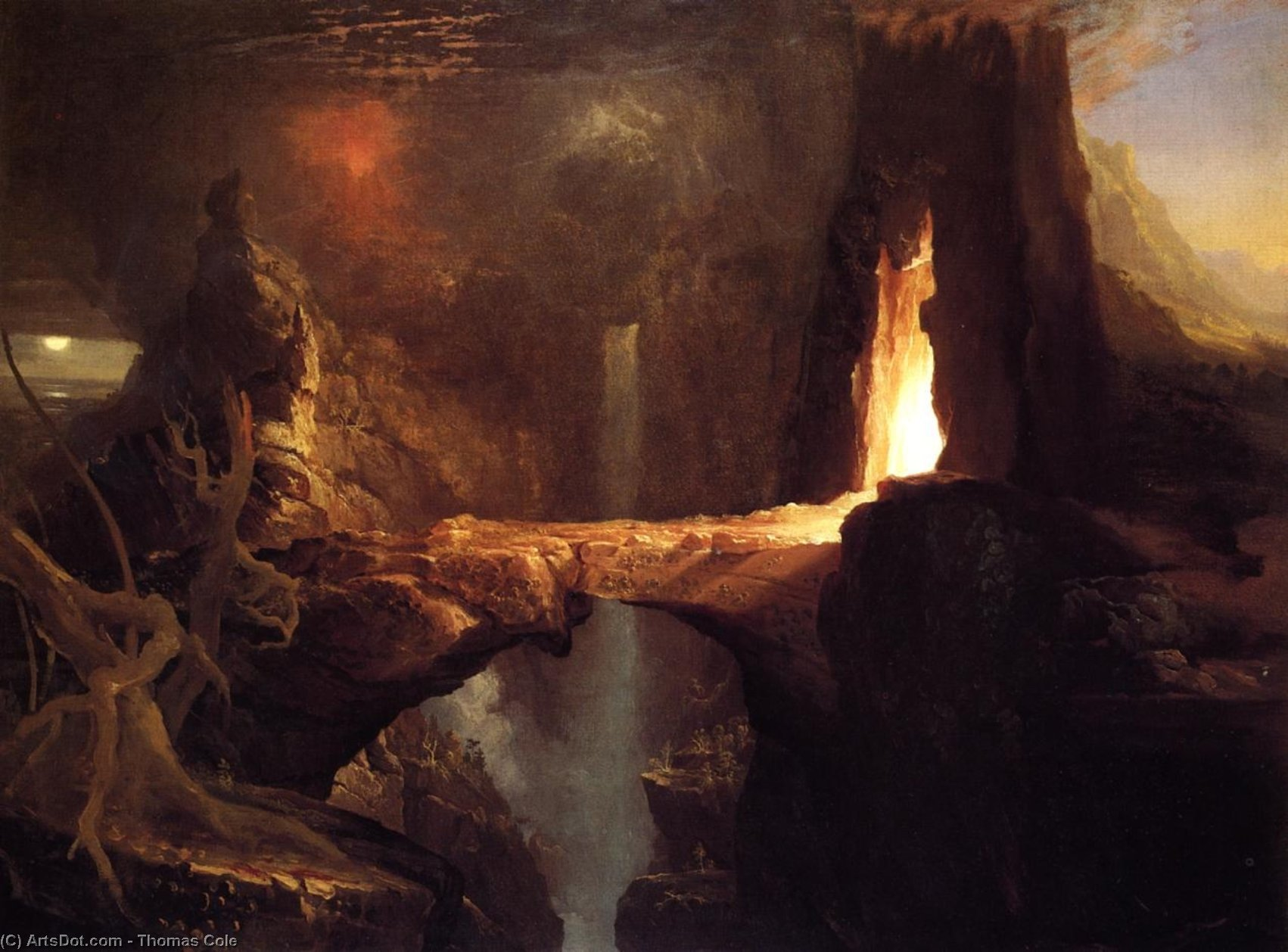 Expulsion. Moon and Firelight - Thomas Cole