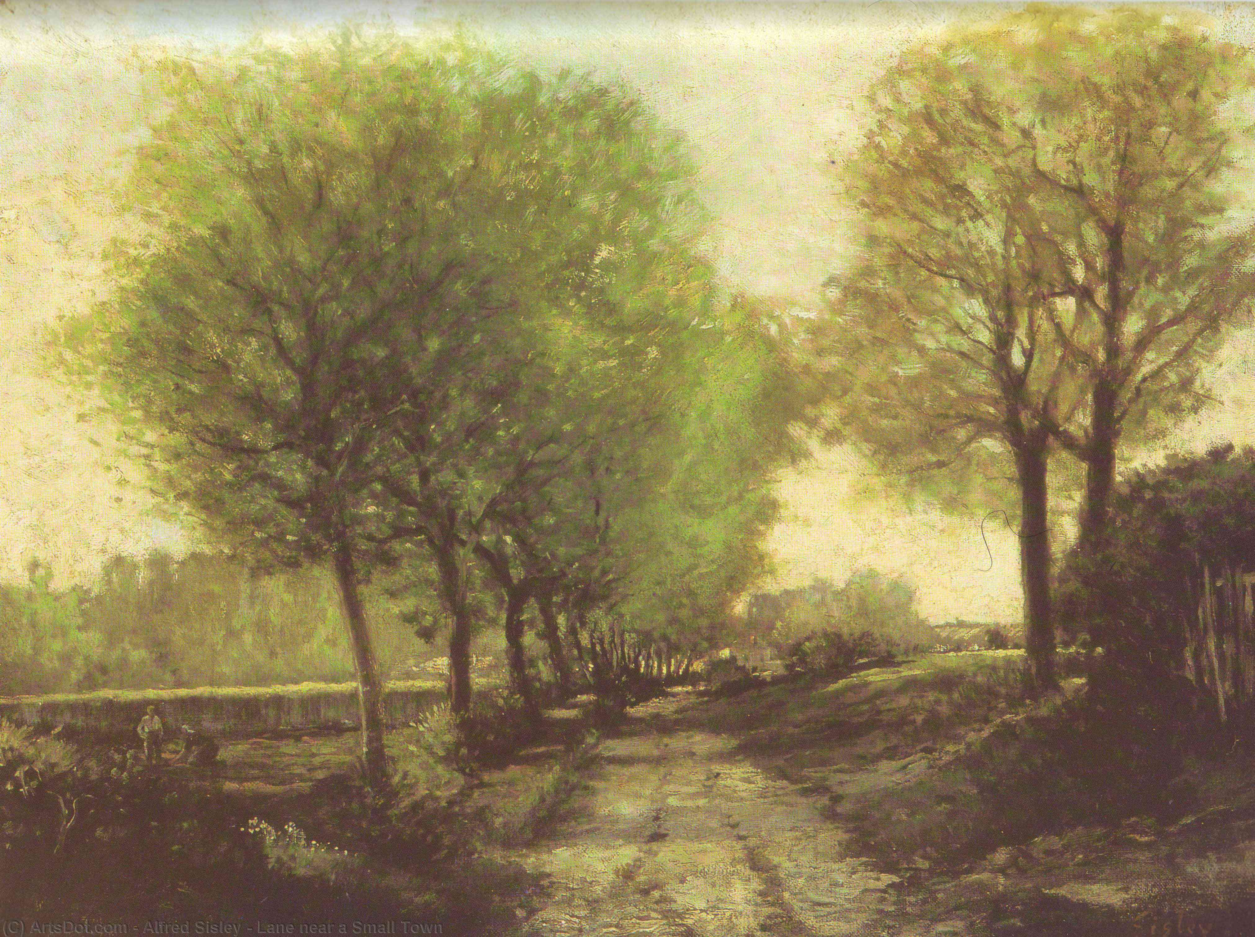 Wikioo.org - The Encyclopedia of Fine Arts - Painting, Artwork by Alfred Sisley - Lane near a Small Town