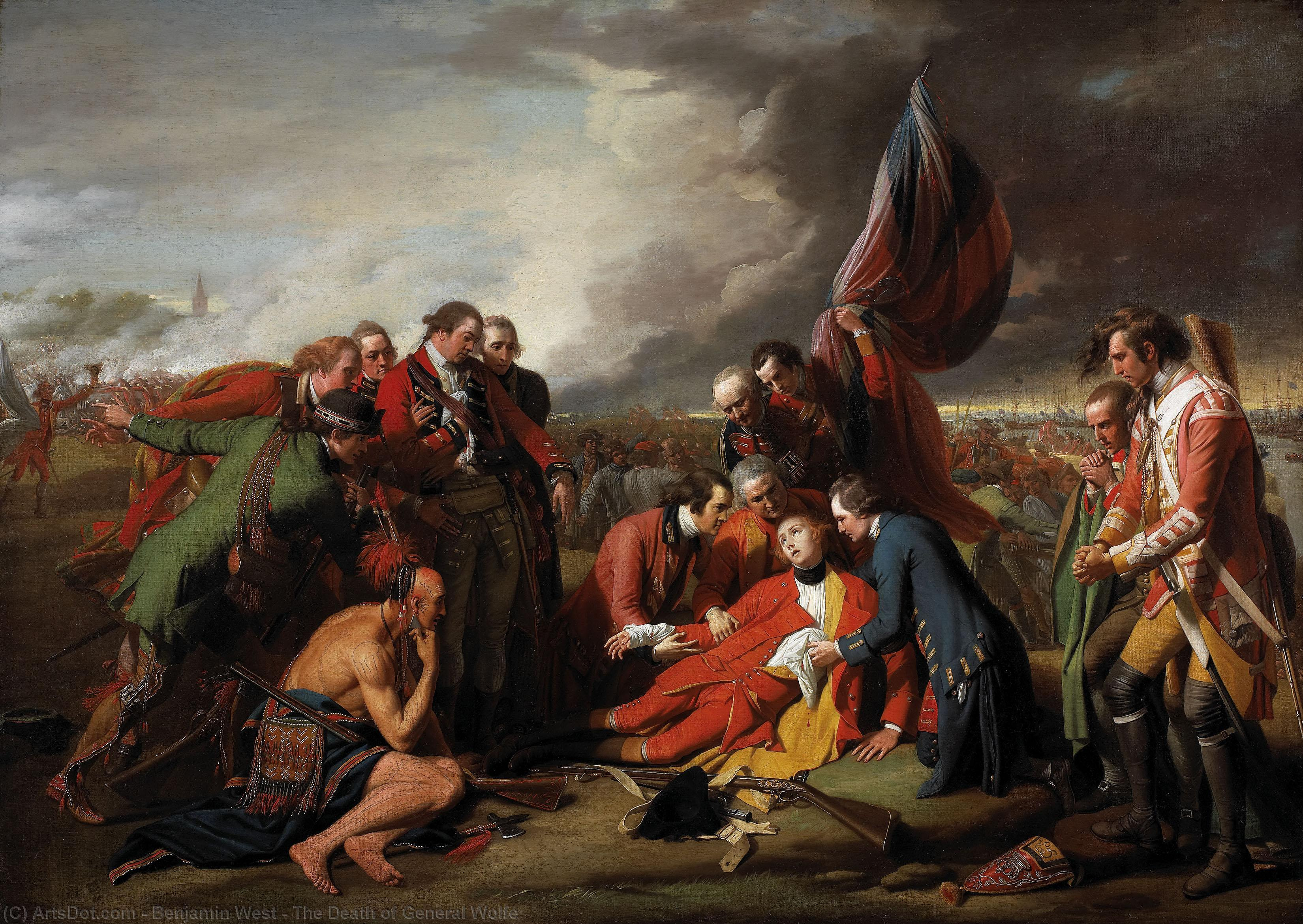 Wikioo.org - The Encyclopedia of Fine Arts - Painting, Artwork by Benjamin West - The Death of General Wolfe