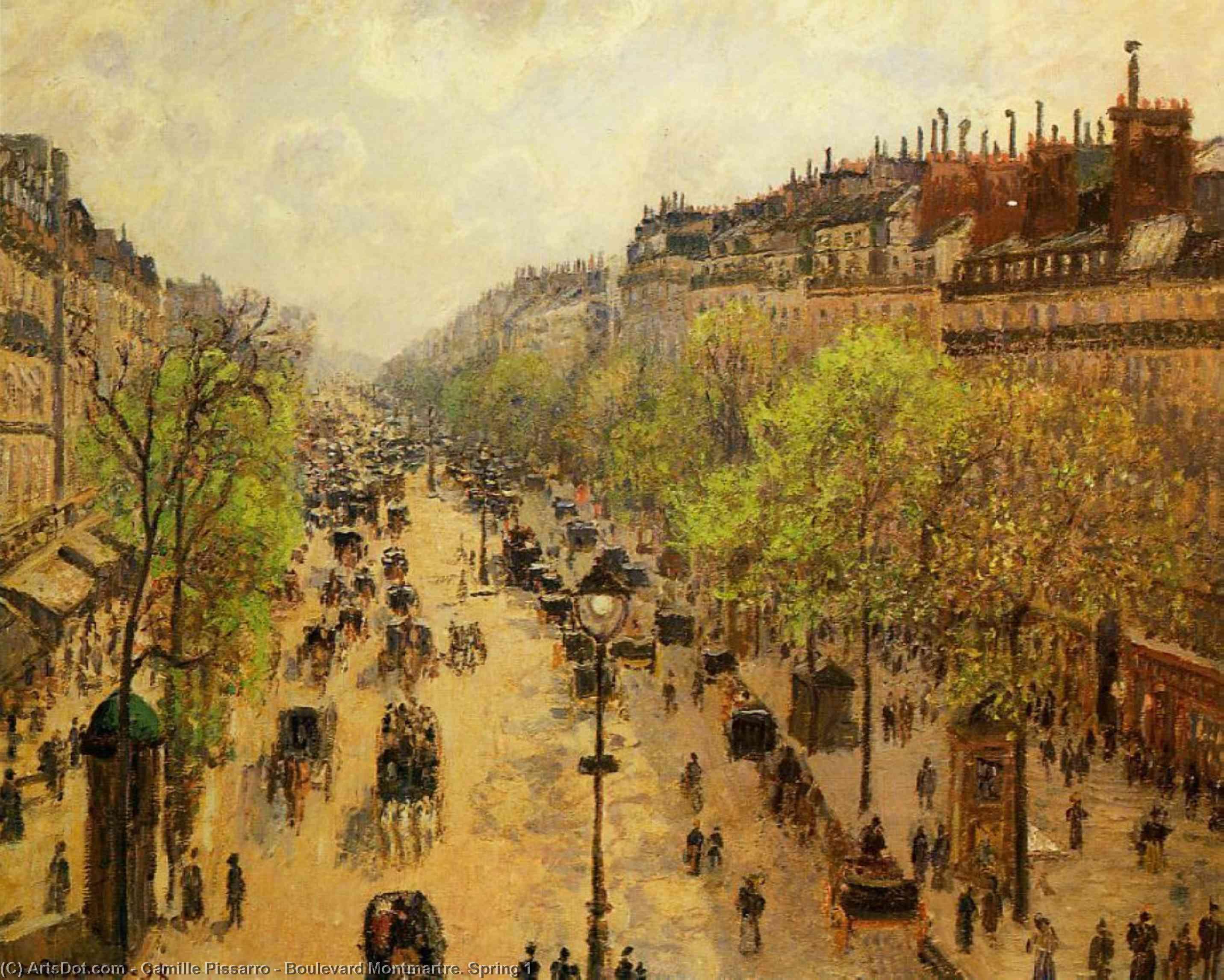 Wikioo.org - Die Enzyklopädie bildender Kunst - Malerei, Kunstwerk von Camille Pissarro - Boulevard Montmartre Frühling 1