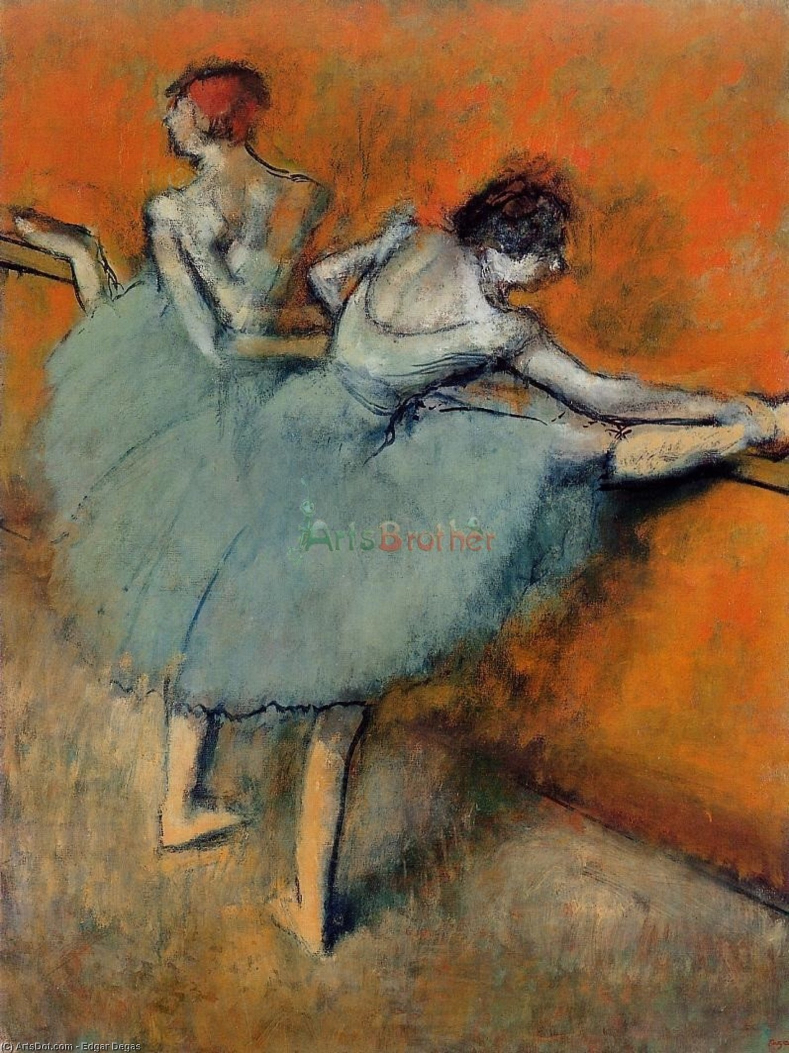 Wikioo.org - The Encyclopedia of Fine Arts - Painting, Artwork by Edgar Degas - Dancers at the Barre 1