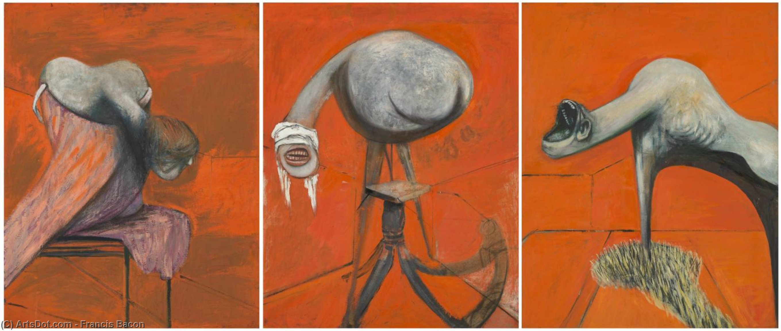 Wikioo.org - The Encyclopedia of Fine Arts - Painting, Artwork by Francis Bacon - Three Studies for Figures at the Base of a Crucifixion