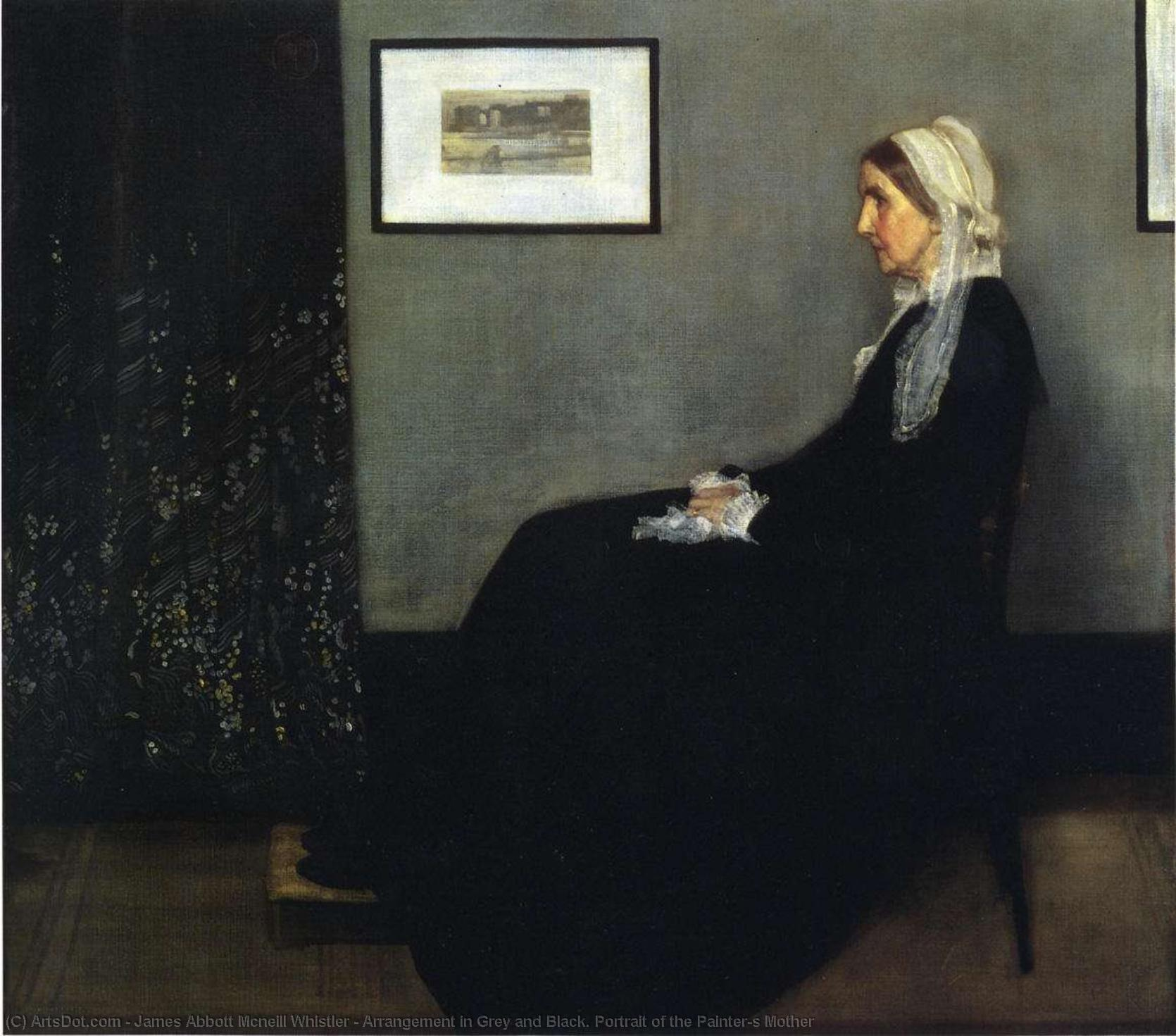 WikiOO.org - Encyclopedia of Fine Arts - Lukisan, Artwork James Abbott Mcneill Whistler - Arrangement in Grey and Black. Portrait of the Painter's Mother