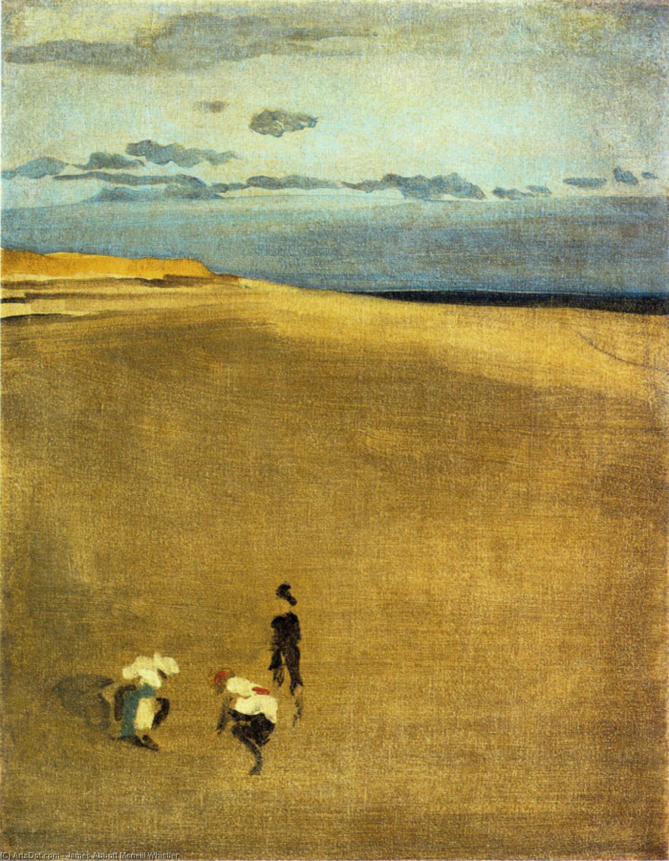 Wikioo.org - The Encyclopedia of Fine Arts - Painting, Artwork by James Abbott Mcneill Whistler - The Beach at Selsey Bill