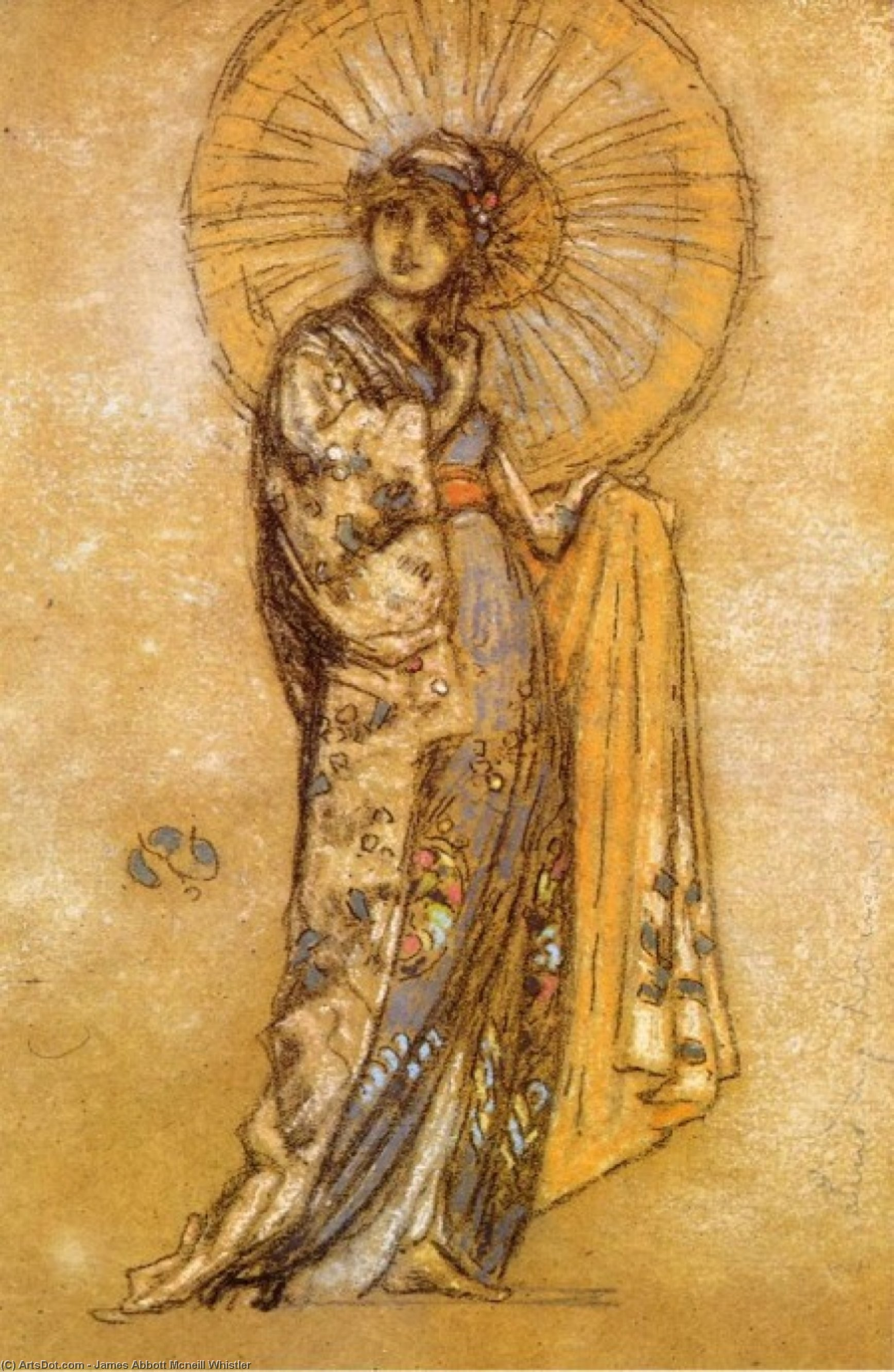 Wikioo.org - The Encyclopedia of Fine Arts - Painting, Artwork by James Abbott Mcneill Whistler - The Japanese Dress