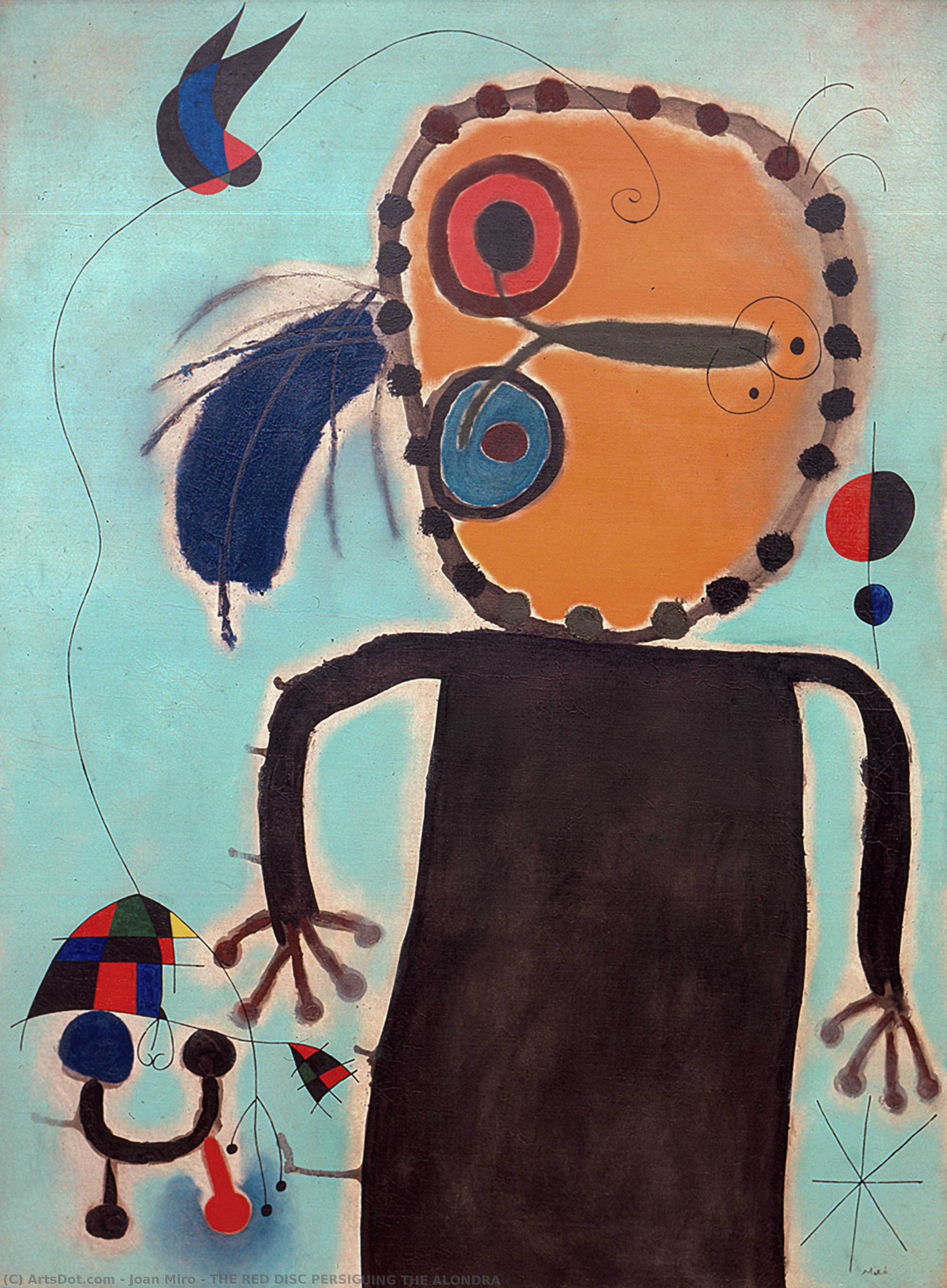 Wikoo.org - موسوعة الفنون الجميلة - اللوحة، العمل الفني Joan Miro - RED DISC IN PURSUIT OF A LARK
