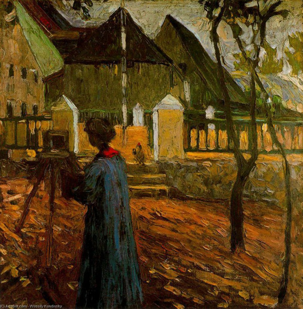 Wikioo.org - The Encyclopedia of Fine Arts - Painting, Artwork by Wassily Kandinsky - Gabriele Münter painting in Kallmunz
