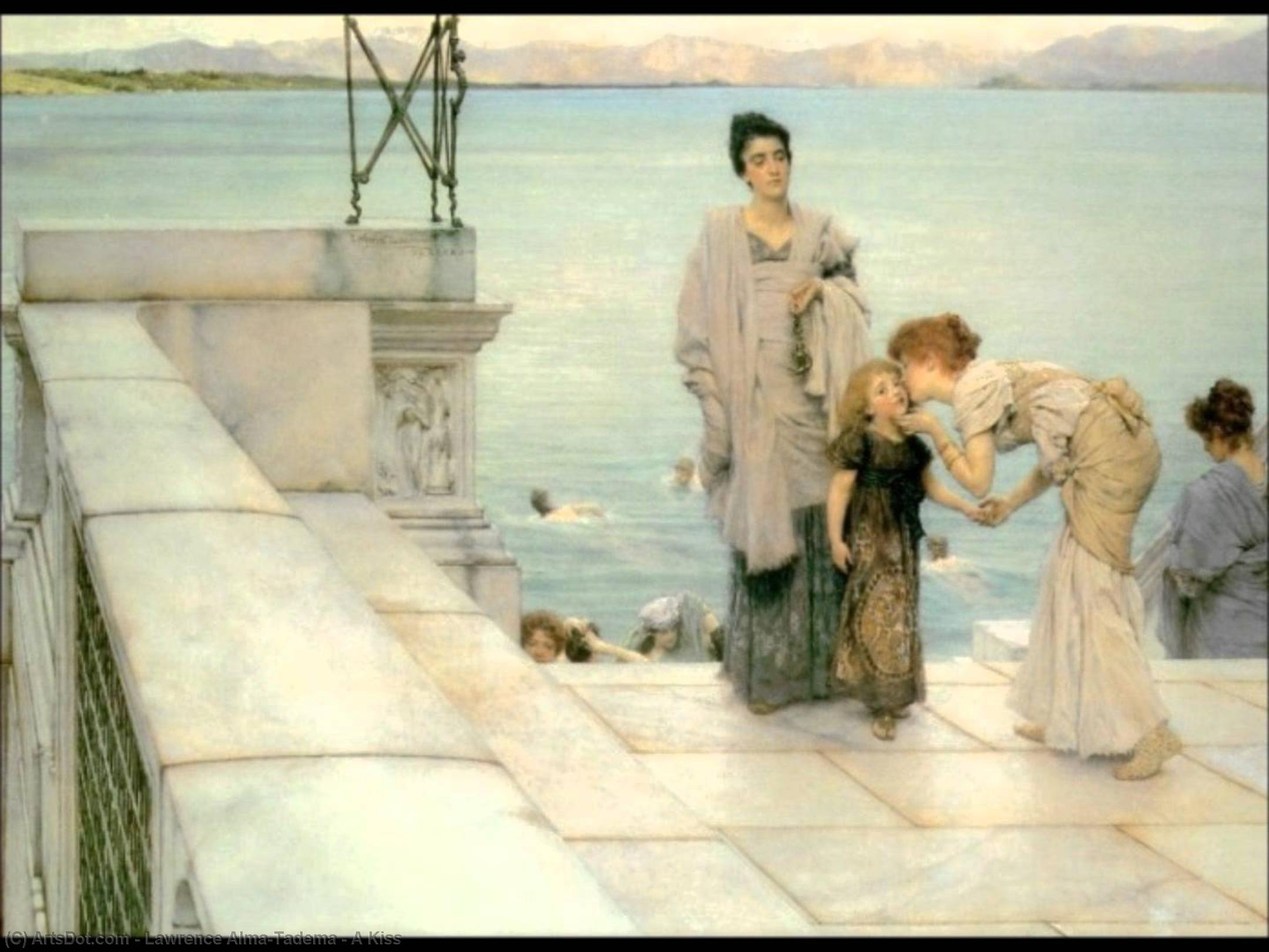Wikioo.org - The Encyclopedia of Fine Arts - Painting, Artwork by Lawrence Alma-Tadema - A Kiss