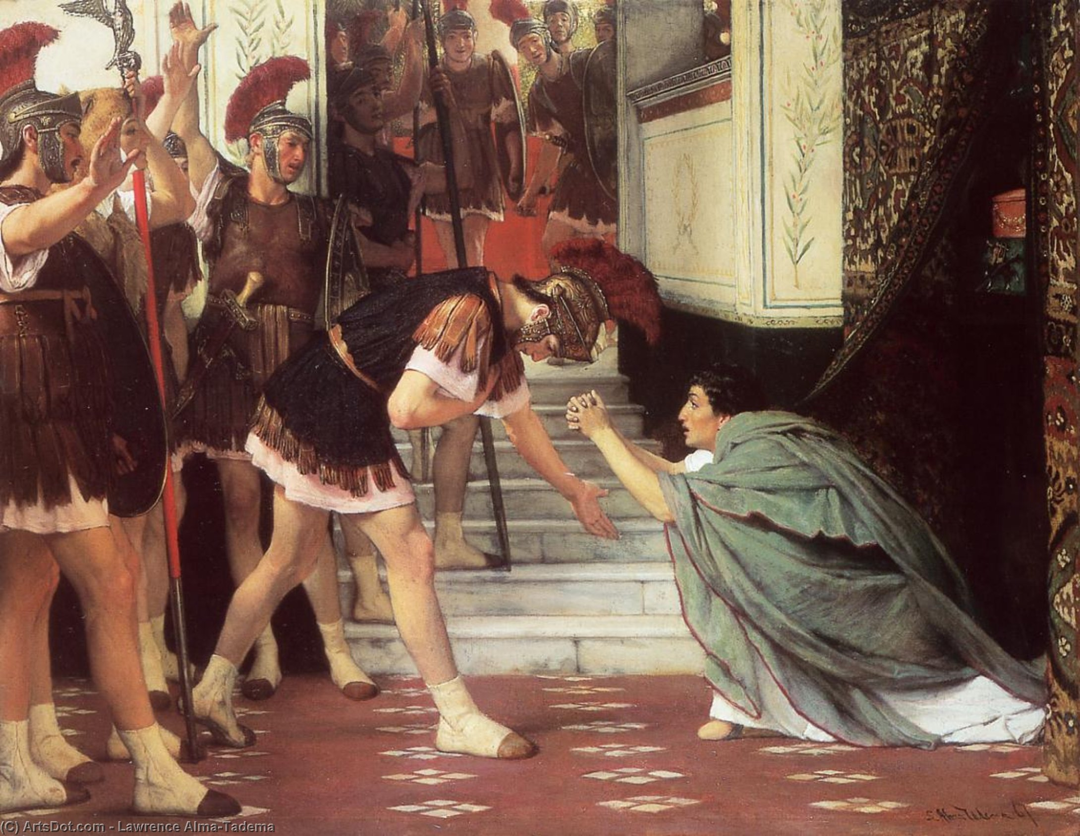 Wikioo.org - The Encyclopedia of Fine Arts - Painting, Artwork by Lawrence Alma-Tadema - Proclaiming Claudius Emperor