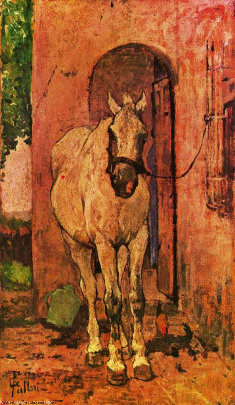 Wikioo.org - The Encyclopedia of Fine Arts - Painting, Artwork by Giovanni Fattori - White horse in fron of a door