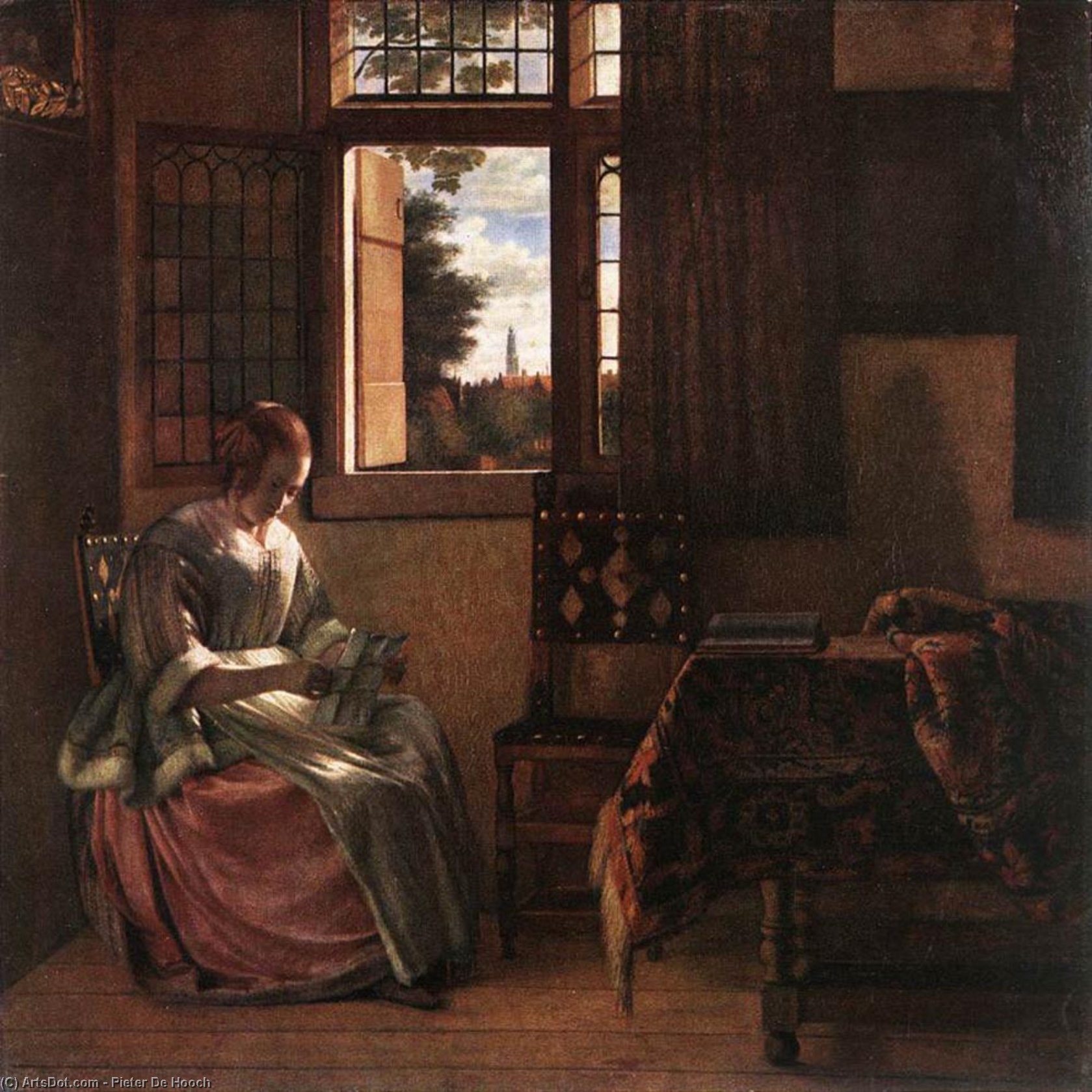 Wikioo.org - The Encyclopedia of Fine Arts - Painting, Artwork by Pieter De Hooch - Woman Reading a Letter