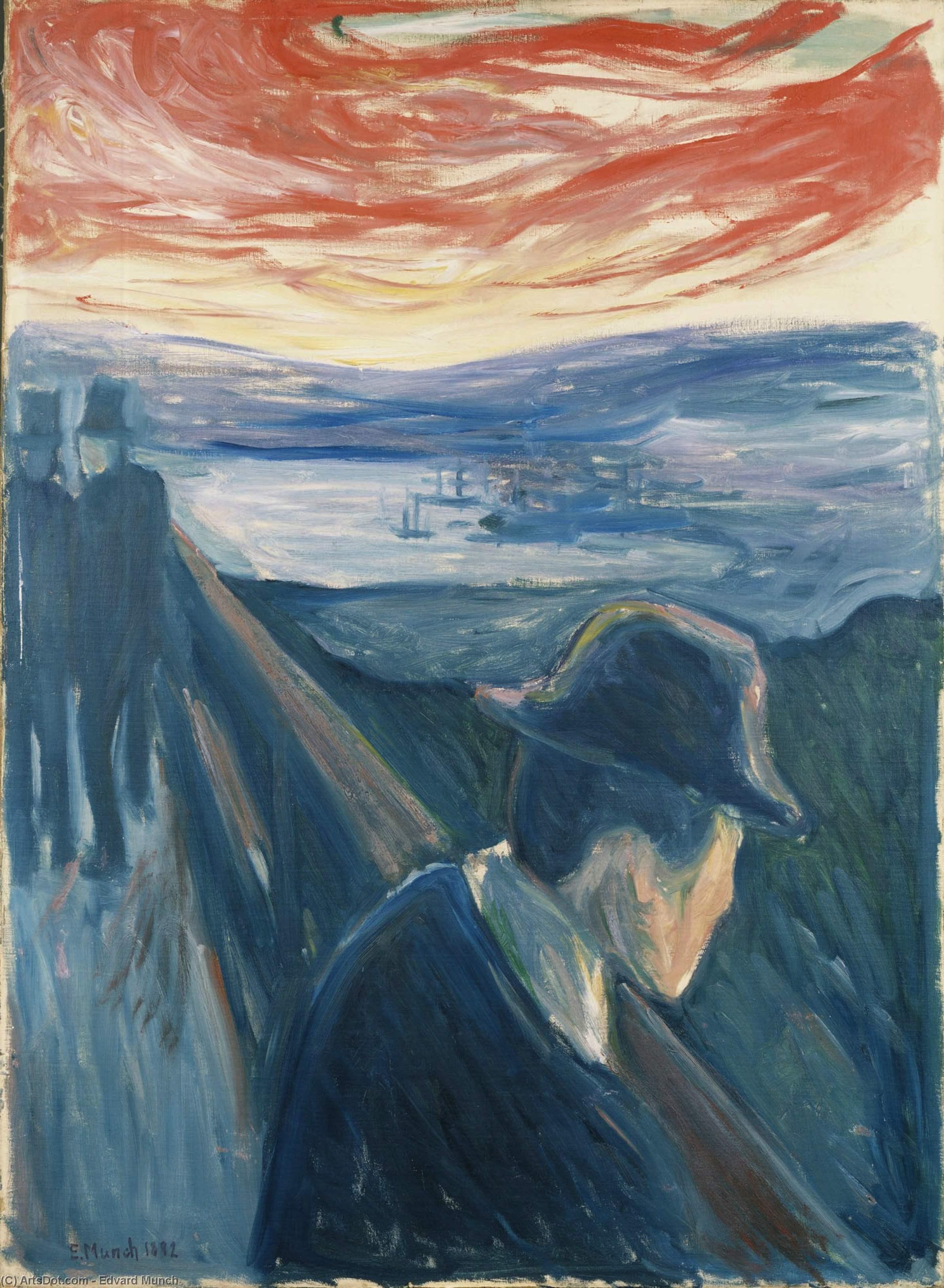 Wikoo.org - موسوعة الفنون الجميلة - اللوحة، العمل الفني Edvard Munch - Despair