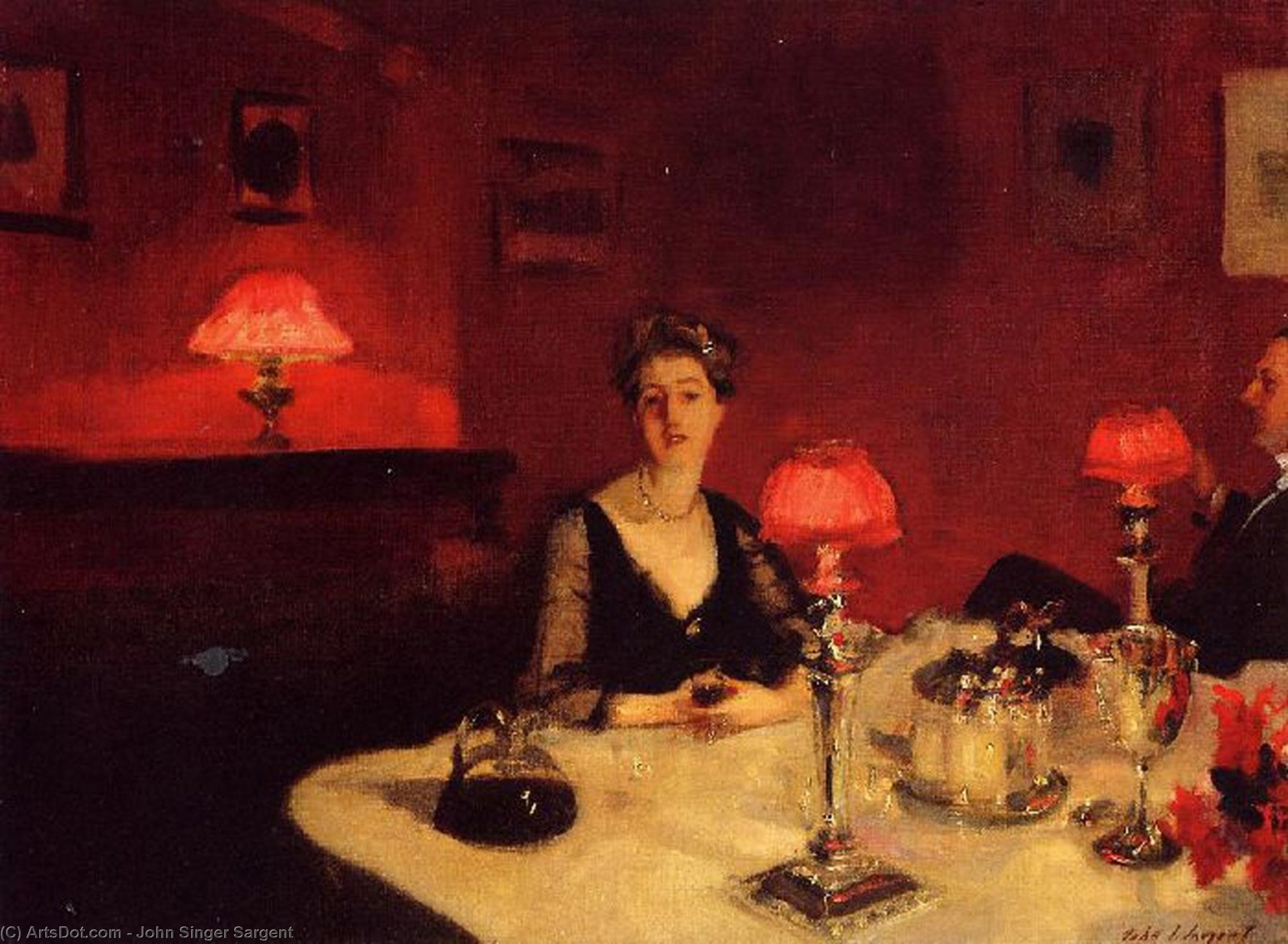 Wikioo.org - The Encyclopedia of Fine Arts - Painting, Artwork by John Singer Sargent - A Dinner Table at Night (also known as Mr. and Mrs. Albert Vickers)