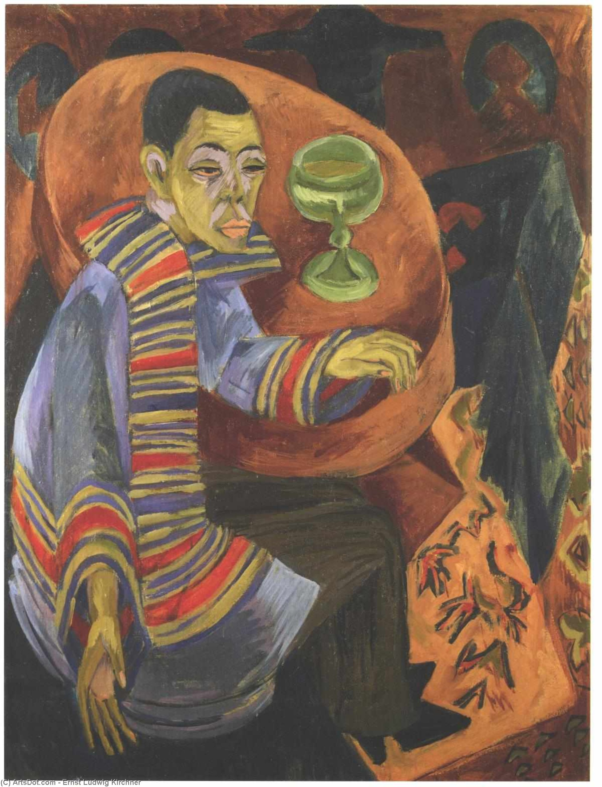 Wikioo.org - The Encyclopedia of Fine Arts - Painting, Artwork by Ernst Ludwig Kirchner - The Drinker (self-portrait)