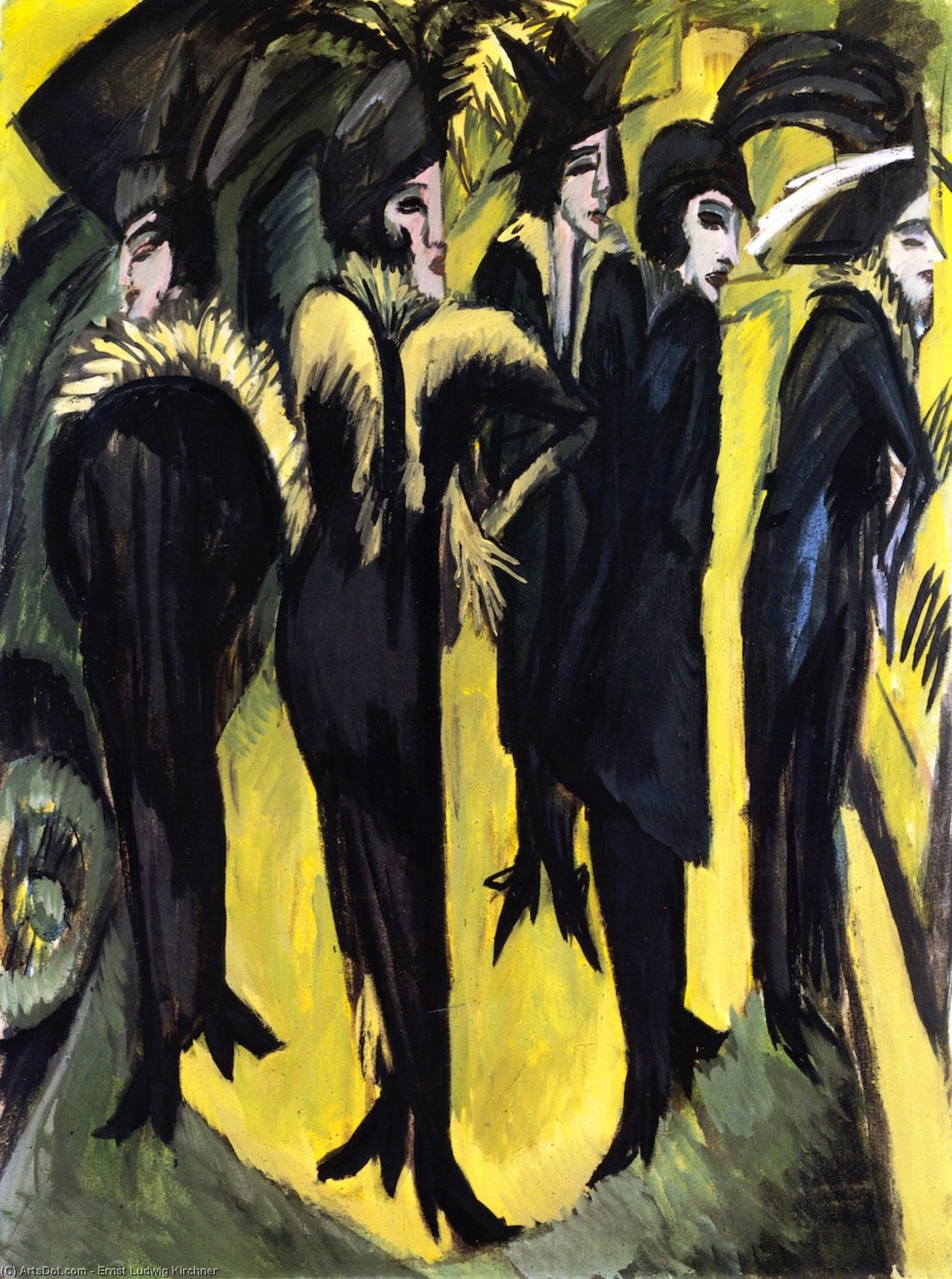 Wikioo.org - The Encyclopedia of Fine Arts - Painting, Artwork by Ernst Ludwig Kirchner - Five Women on the Street
