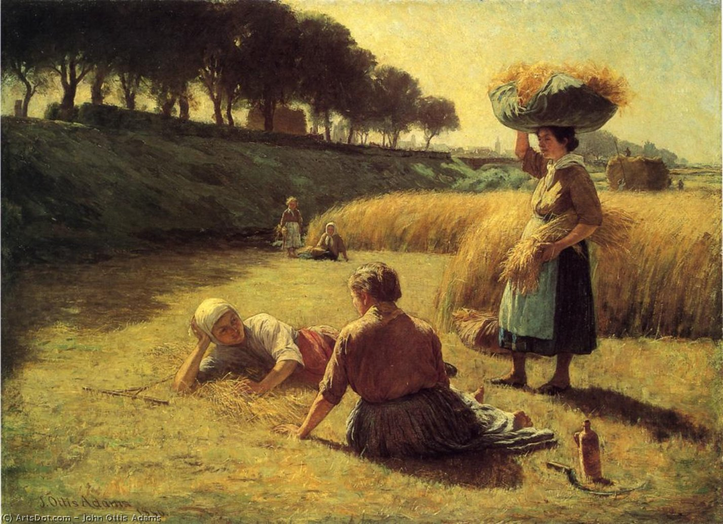 Wikioo.org - The Encyclopedia of Fine Arts - Painting, Artwork by John Ottis Adams - Gleaners at Rest (also known as Nooning)