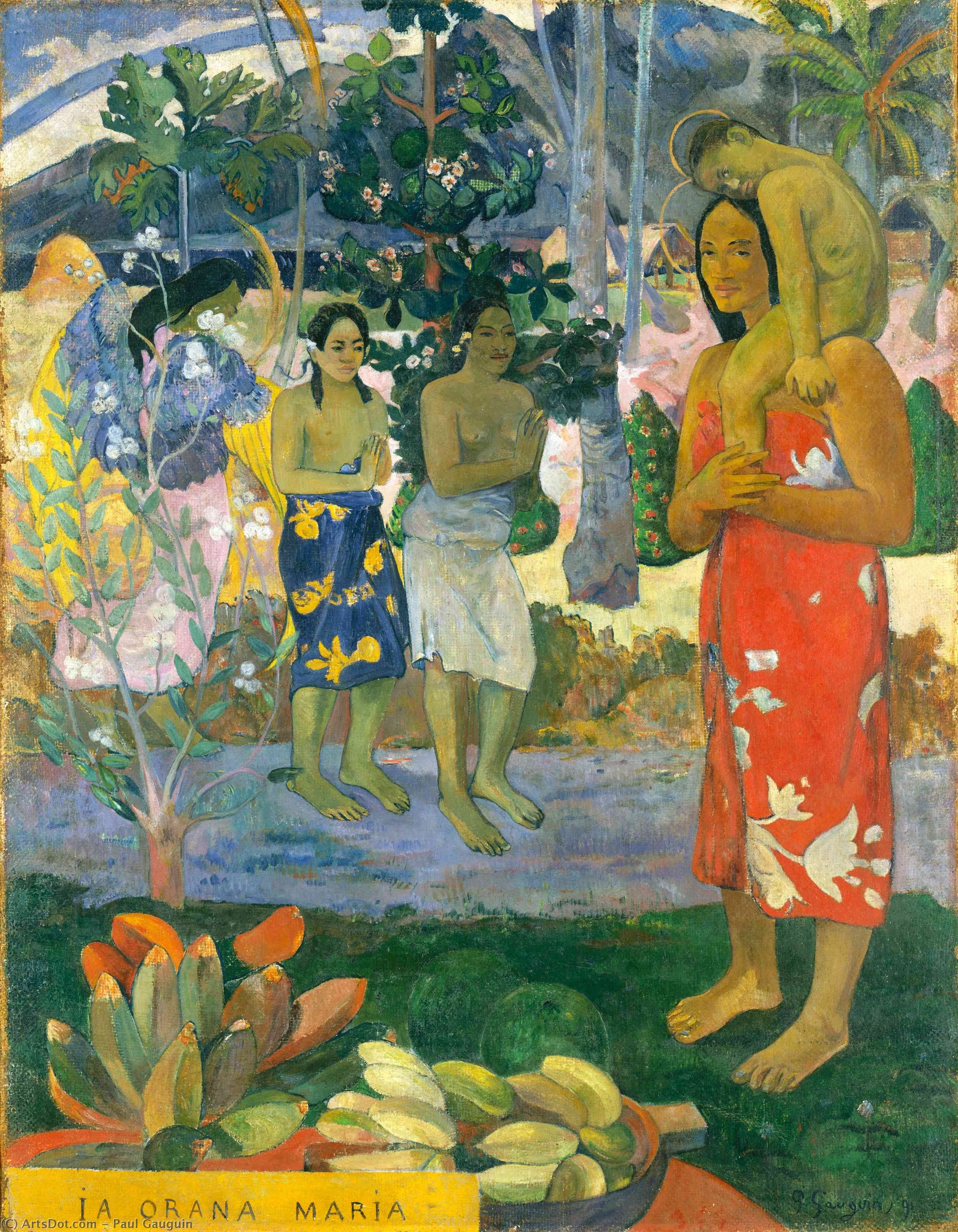 Wikioo.org - The Encyclopedia of Fine Arts - Painting, Artwork by Paul Gauguin - Ia Orana Maria (also known as Hail Mary)
