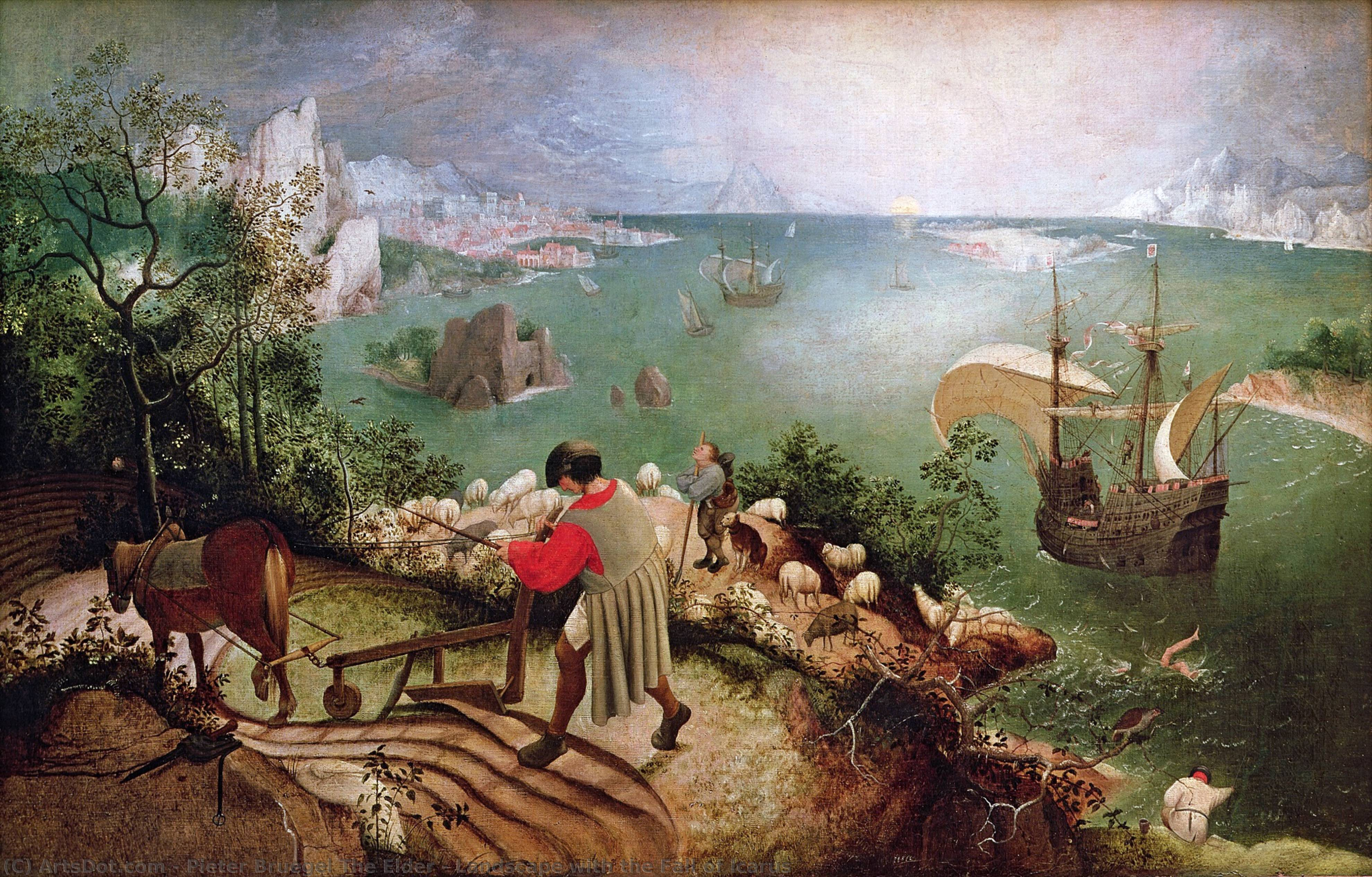 Wikioo.org - The Encyclopedia of Fine Arts - Painting, Artwork by Pieter Bruegel The Elder - Landscape with the Fall of Icarus