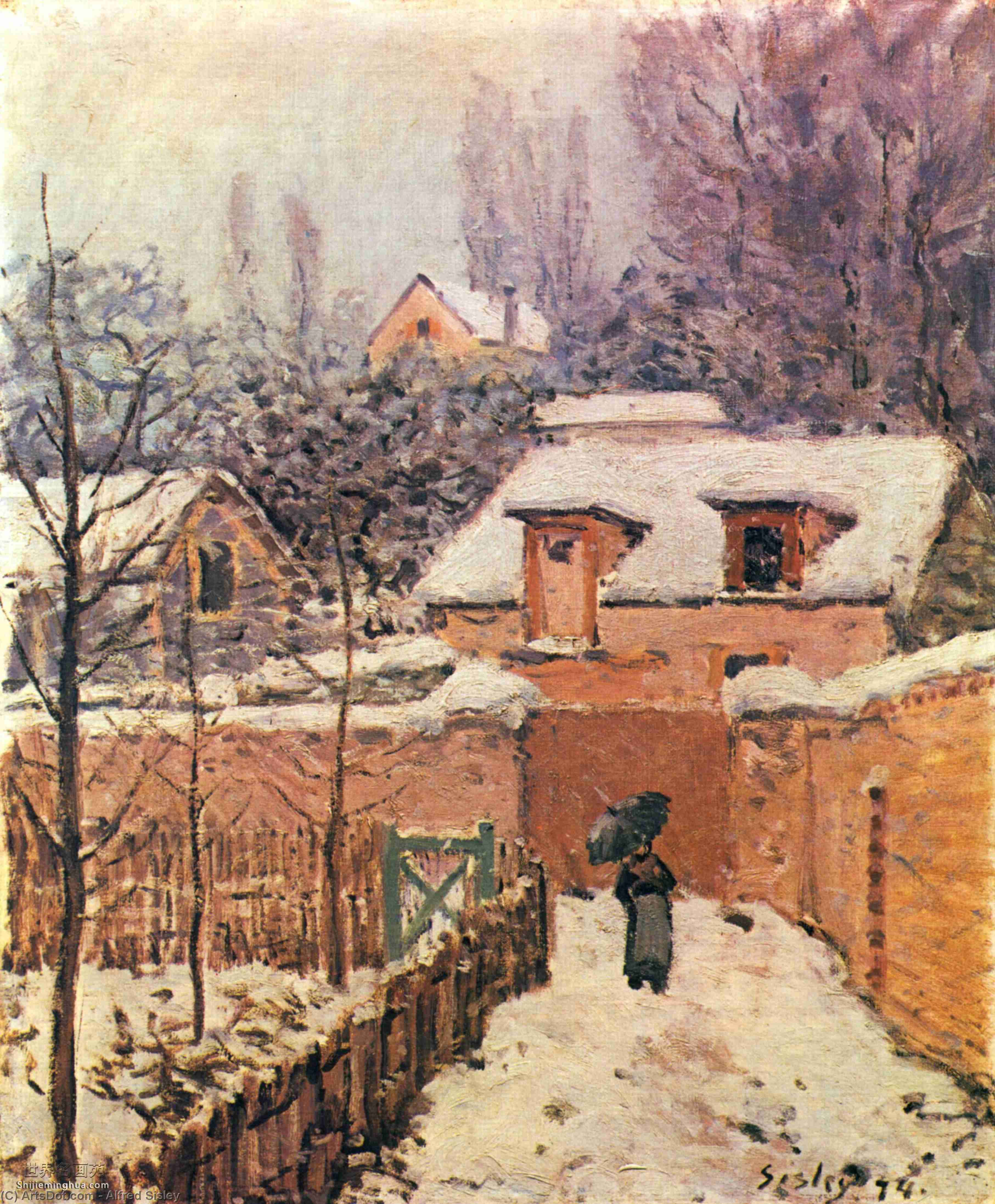 Wikioo.org - The Encyclopedia of Fine Arts - Painting, Artwork by Alfred Sisley - GardeninLouveciennesin theSnow
