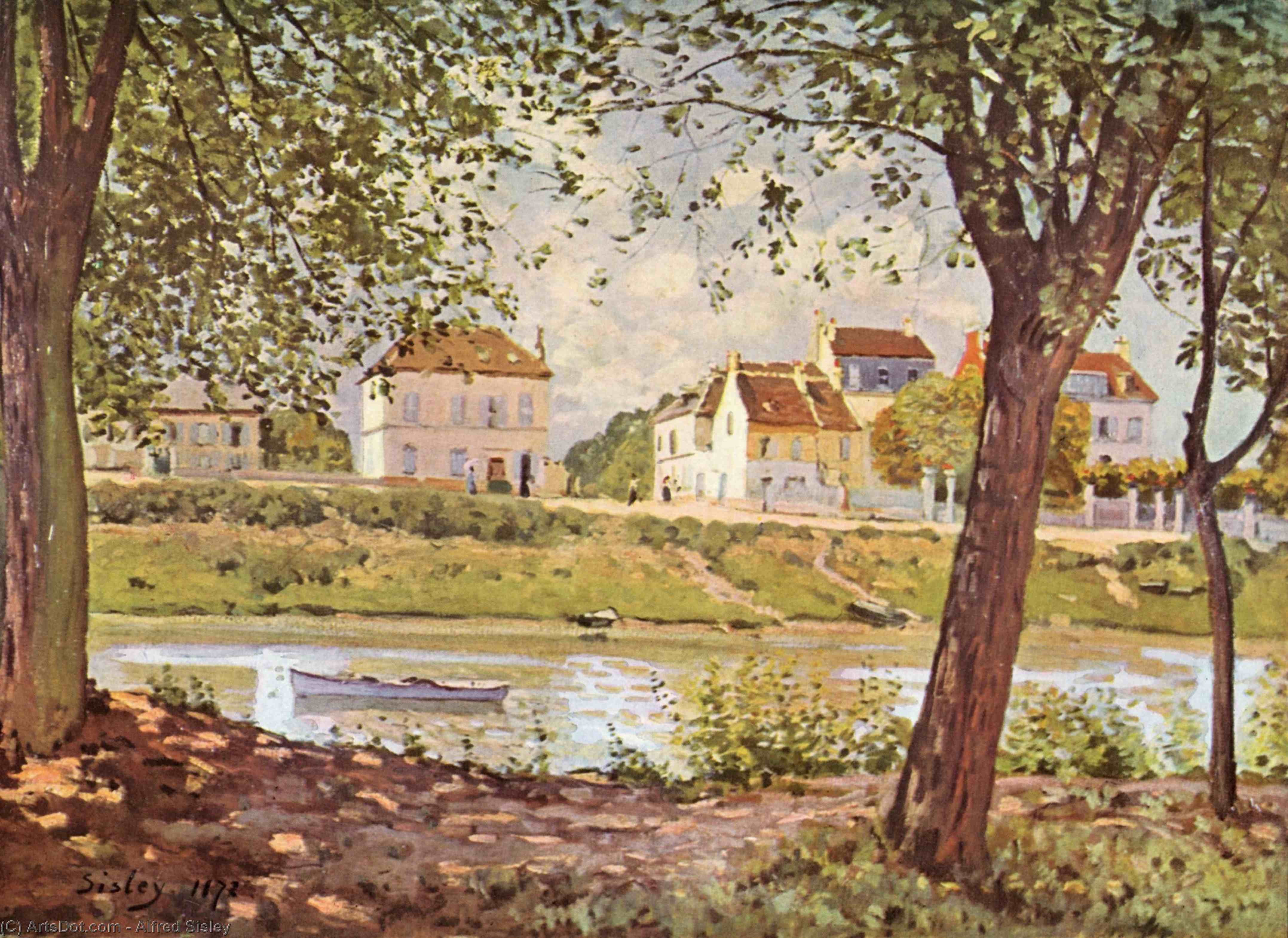 Wikioo.org - The Encyclopedia of Fine Arts - Painting, Artwork by Alfred Sisley - Villageon thebanksof the Seine