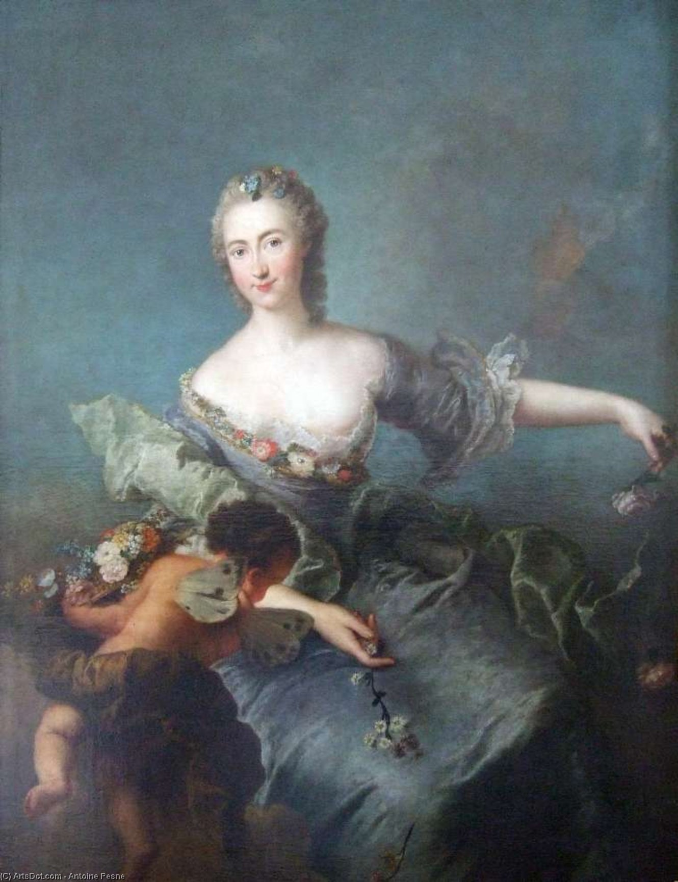 Wikioo.org - The Encyclopedia of Fine Arts - Painting, Artwork by Antoine Pesne - Portrait of Louise Albertine von Grappendorf as Flora