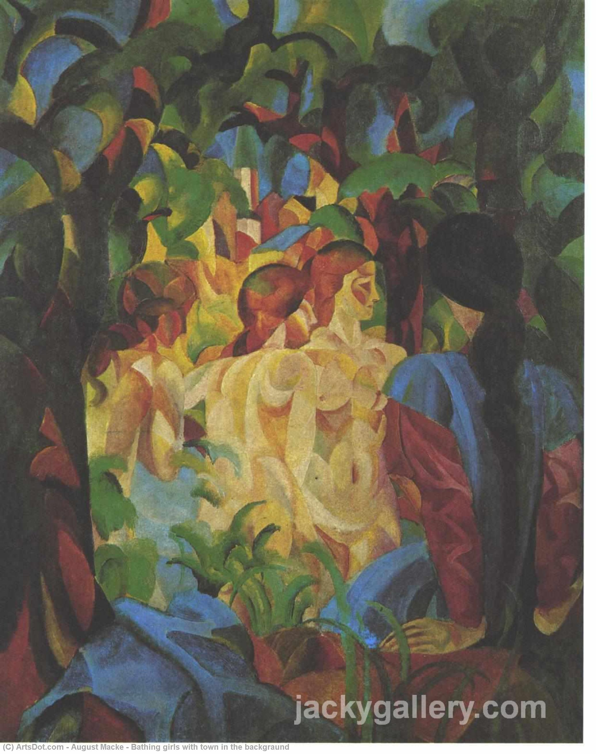 Wikioo.org - The Encyclopedia of Fine Arts - Painting, Artwork by August Macke - Bathing girls with town in the backgraund
