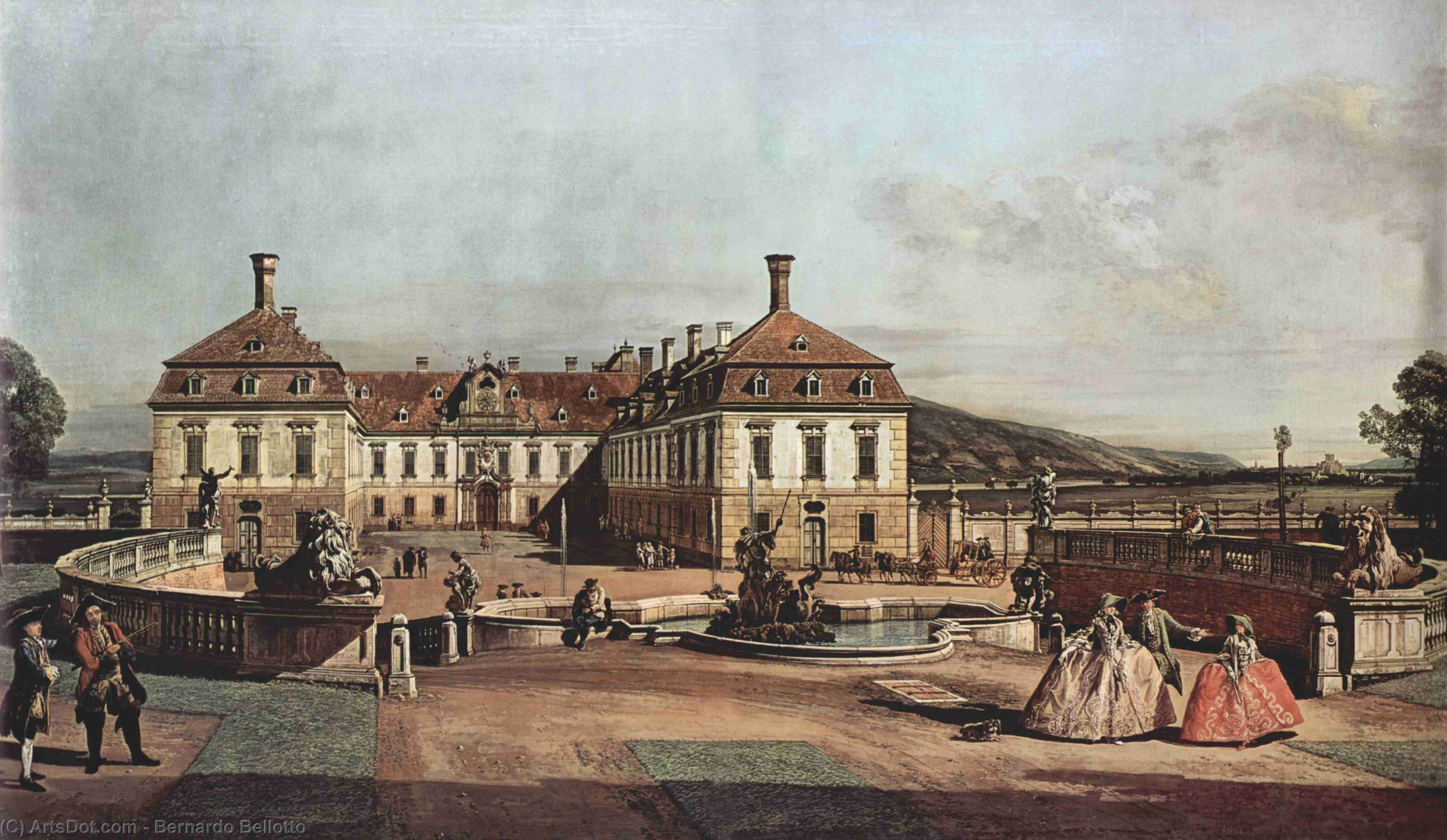 Wikioo.org - The Encyclopedia of Fine Arts - Painting, Artwork by Bernardo Bellotto - The imperial summer residence, courtyard