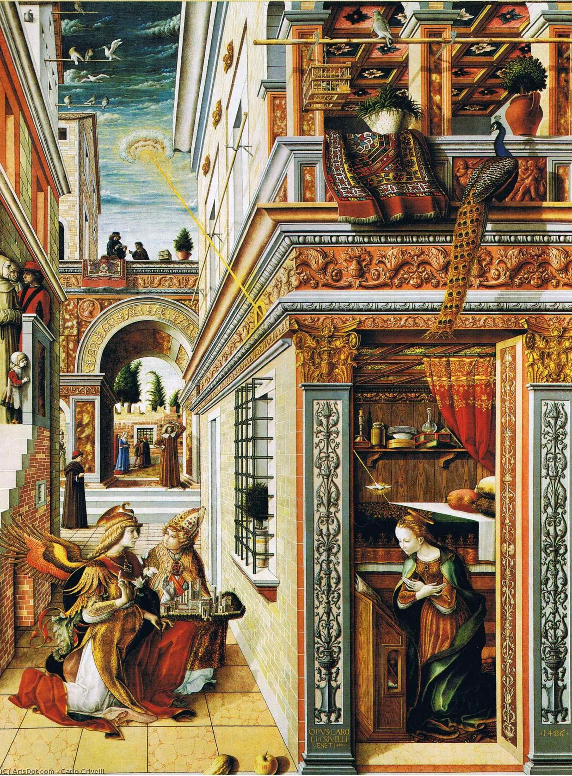 Wikioo.org - The Encyclopedia of Fine Arts - Painting, Artwork by Carlo Crivelli - Annunciation with Saint Emidius